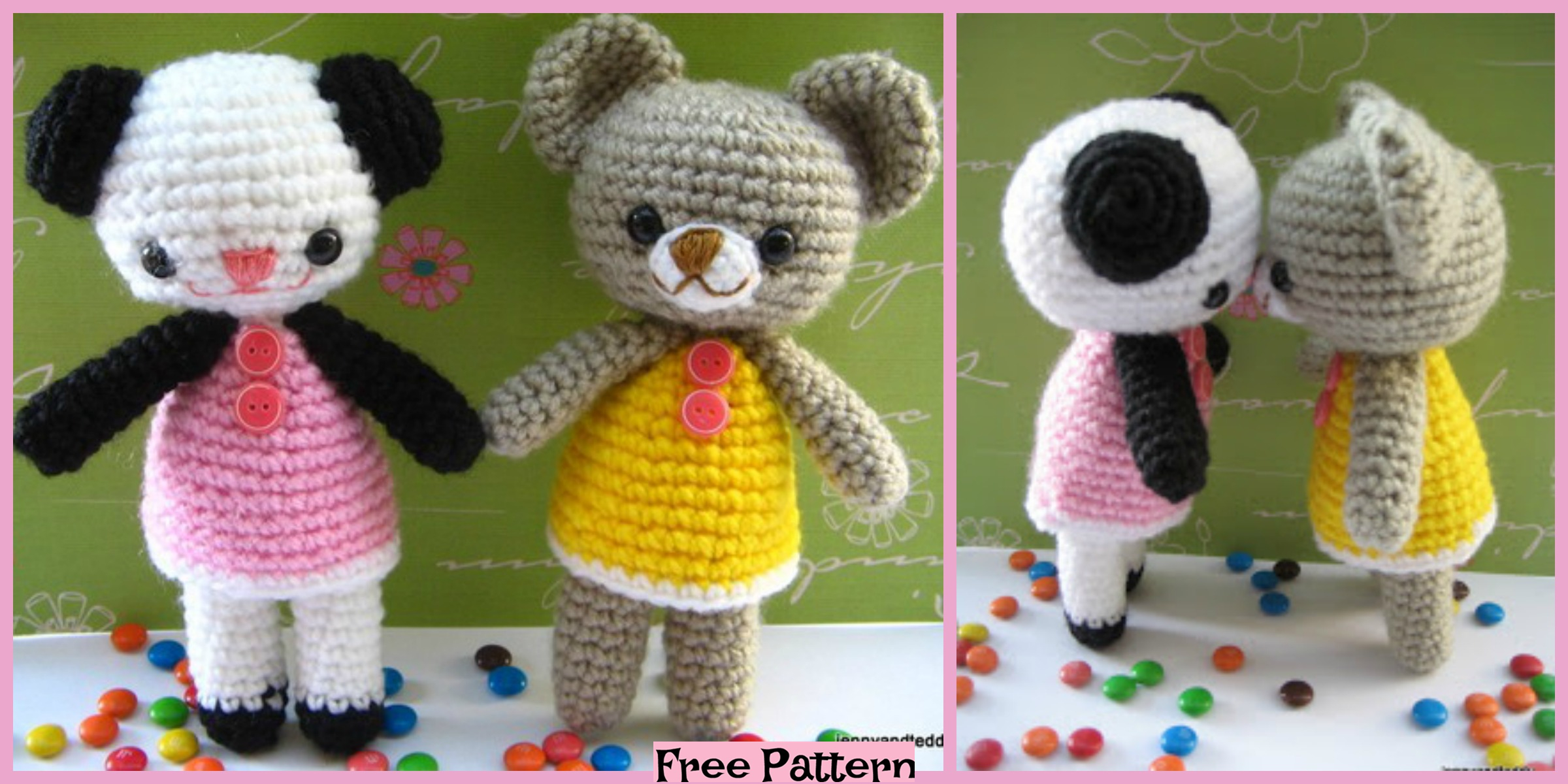 Crochet Two Little Teddy Bears – Free Pattern
