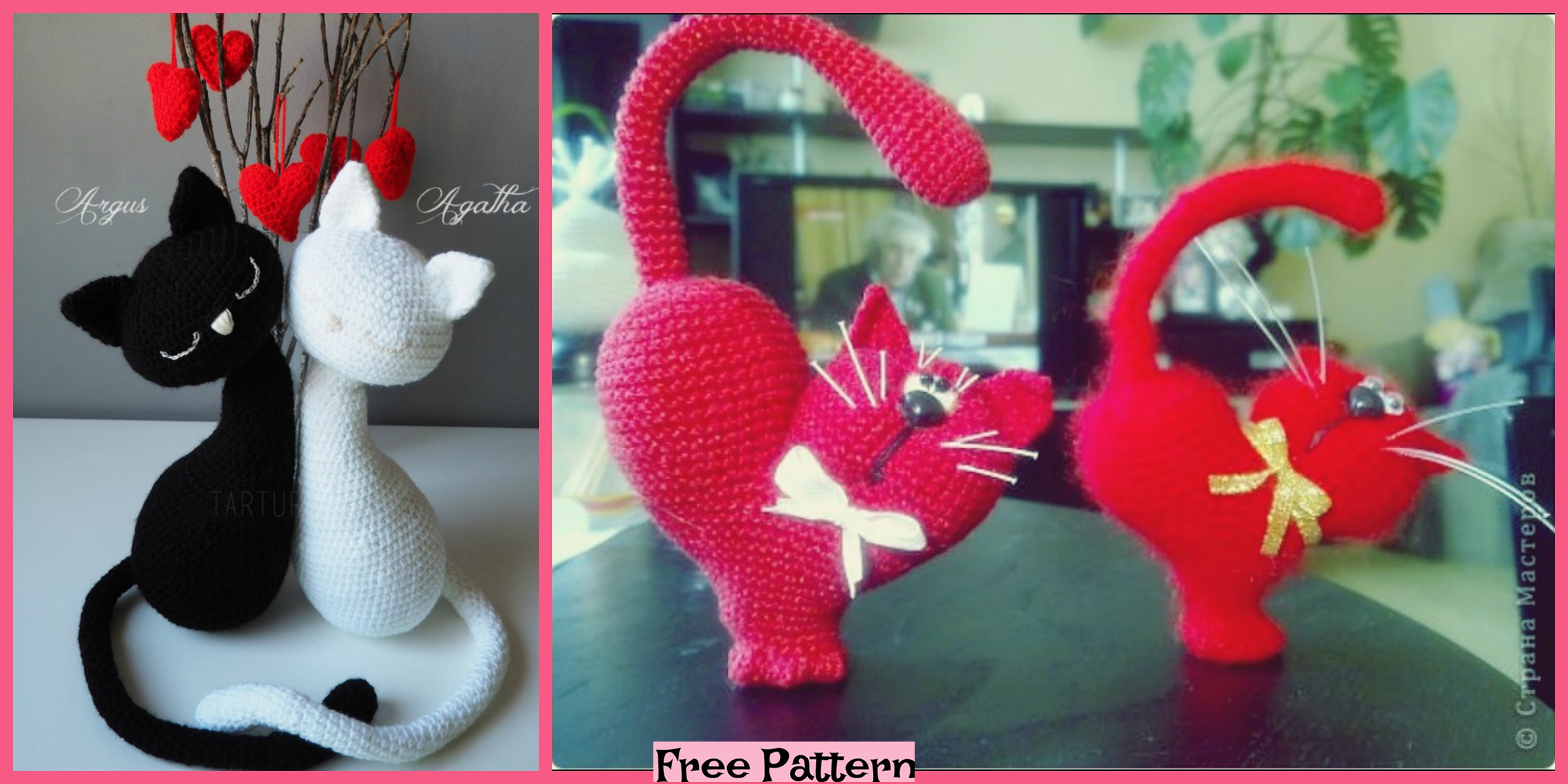 Crochet Valentine Cats – Free Patterns