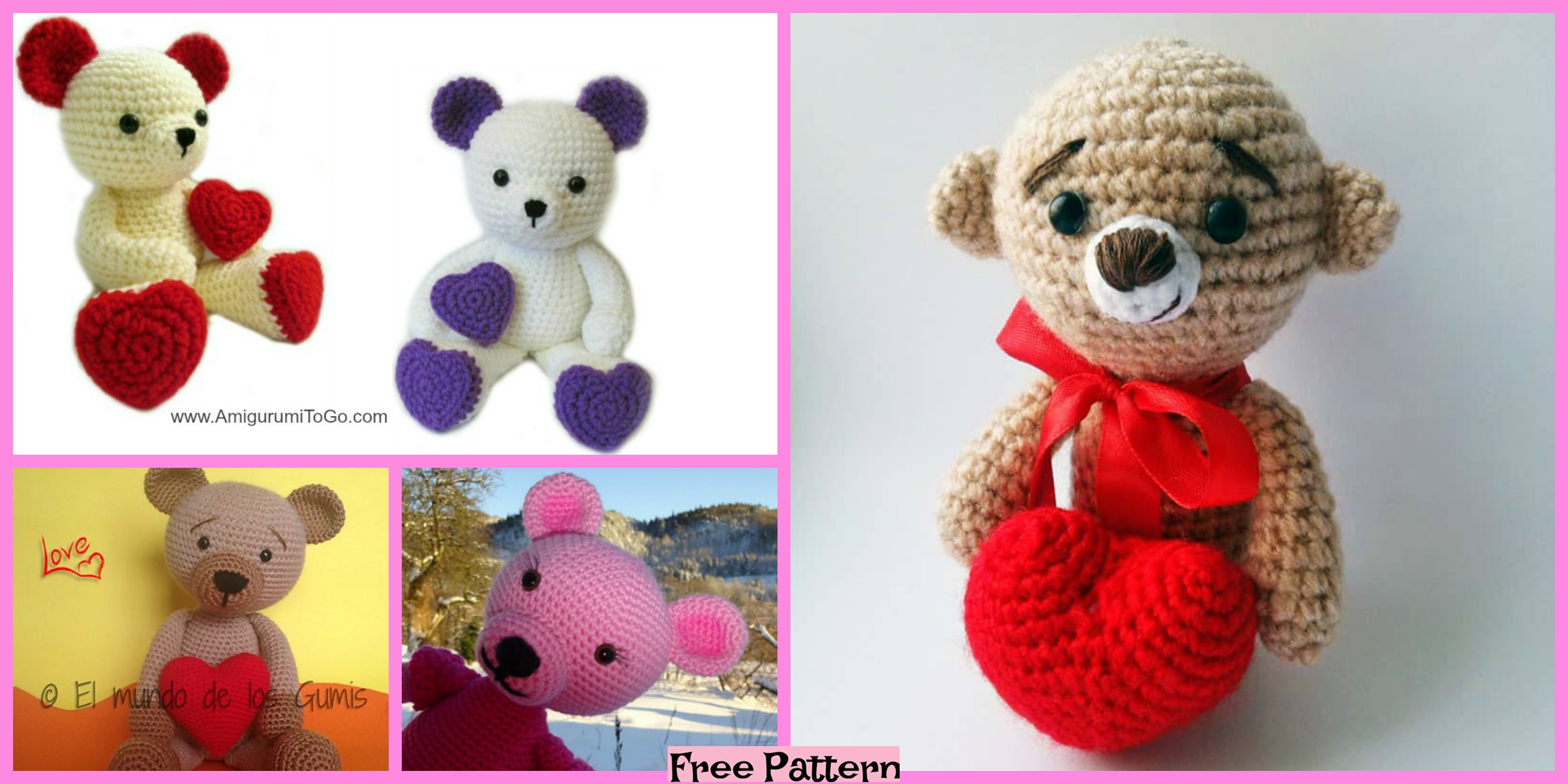 Crochet Valentine Teddy Bears – Free Patterns