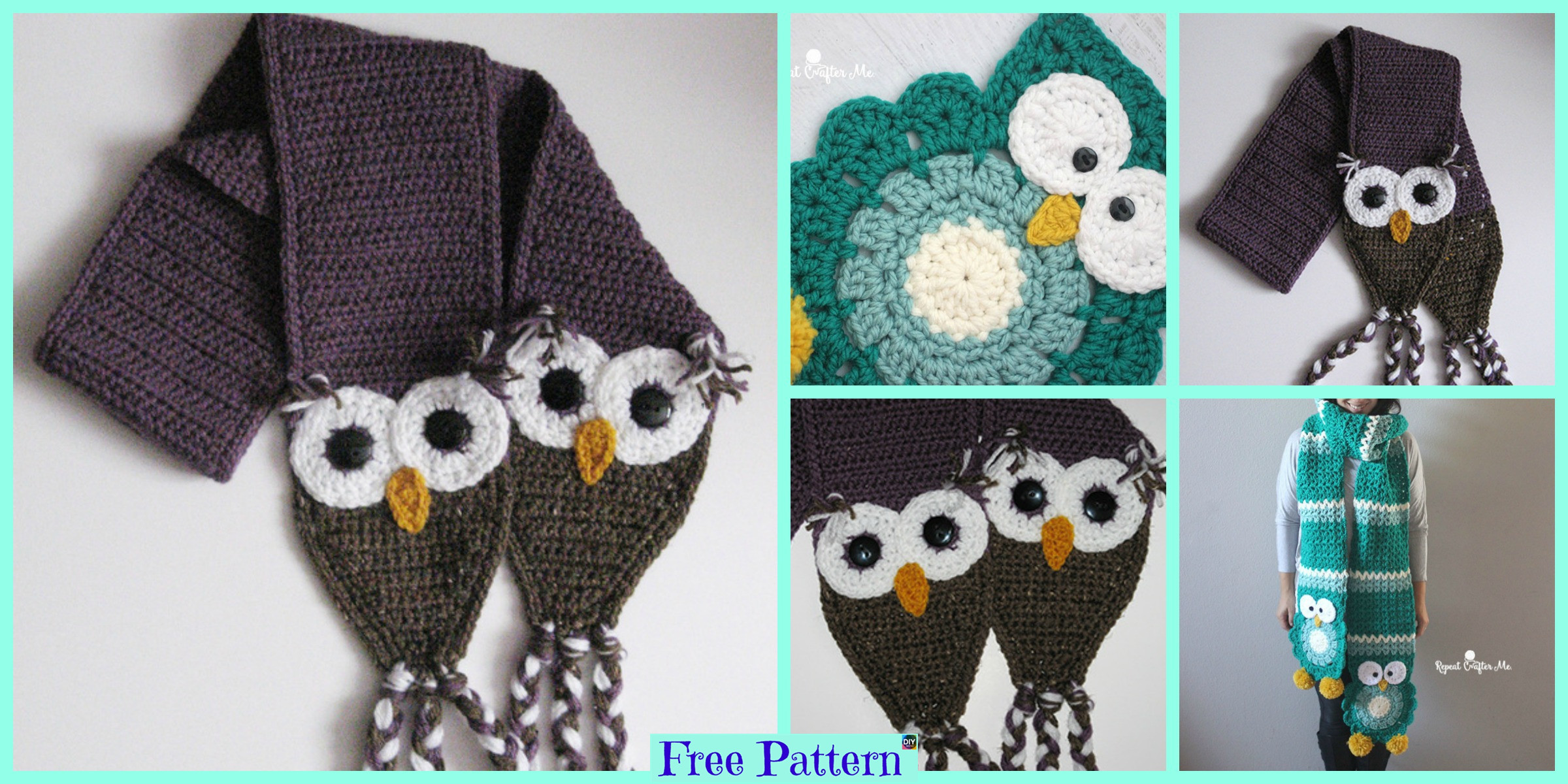 Cute Crocheted Owl Scarf – Free Pattern