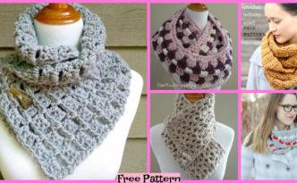 diy4ever-12 Crochet Infinity Scarves - Free Patterns