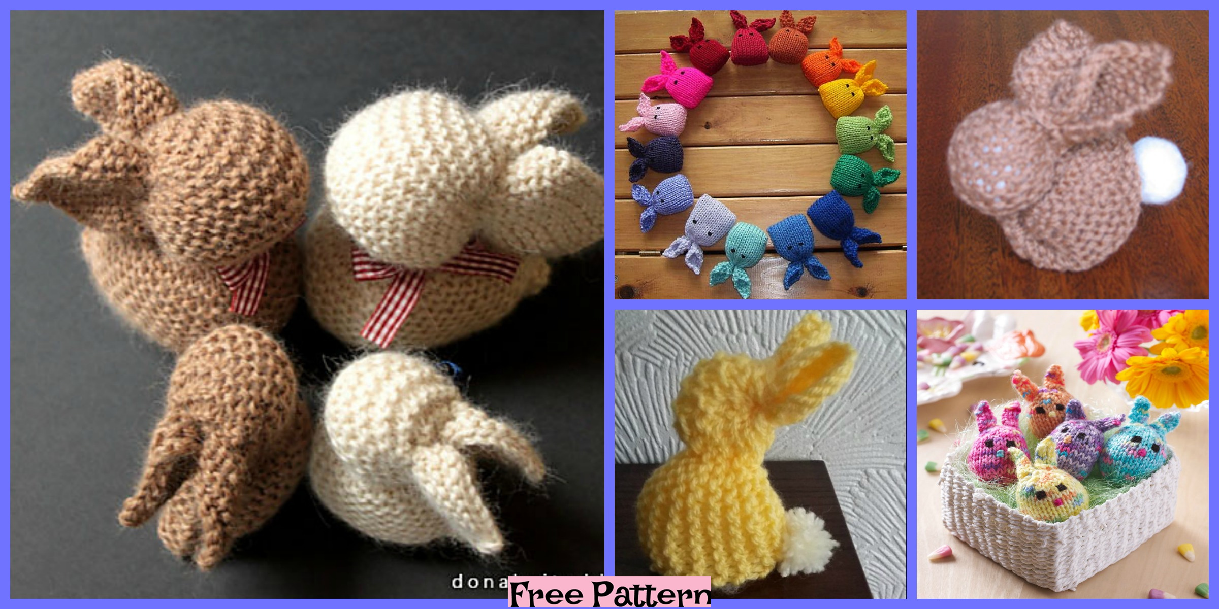 6 knitted Easter Bunnies – Free Patterns