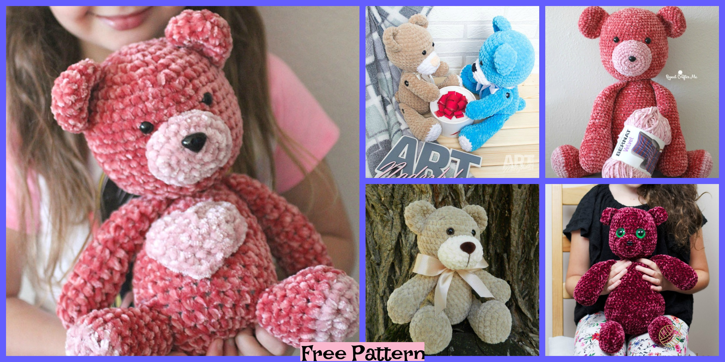 Crochet Big Velvet Bear – Free Patterns
