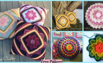 diy4ever-Crochet Bloom Pillow - Free Patterns
