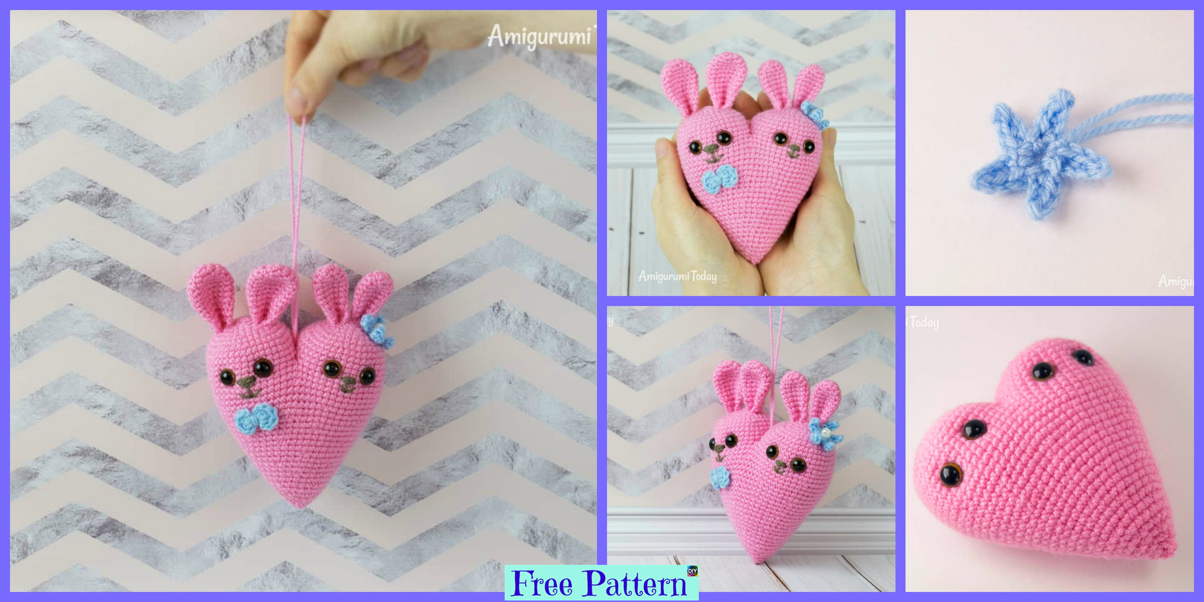 Pretty Bunny with floppy ears - Crochet Pattern - Amigurumi Today | 1200x2400