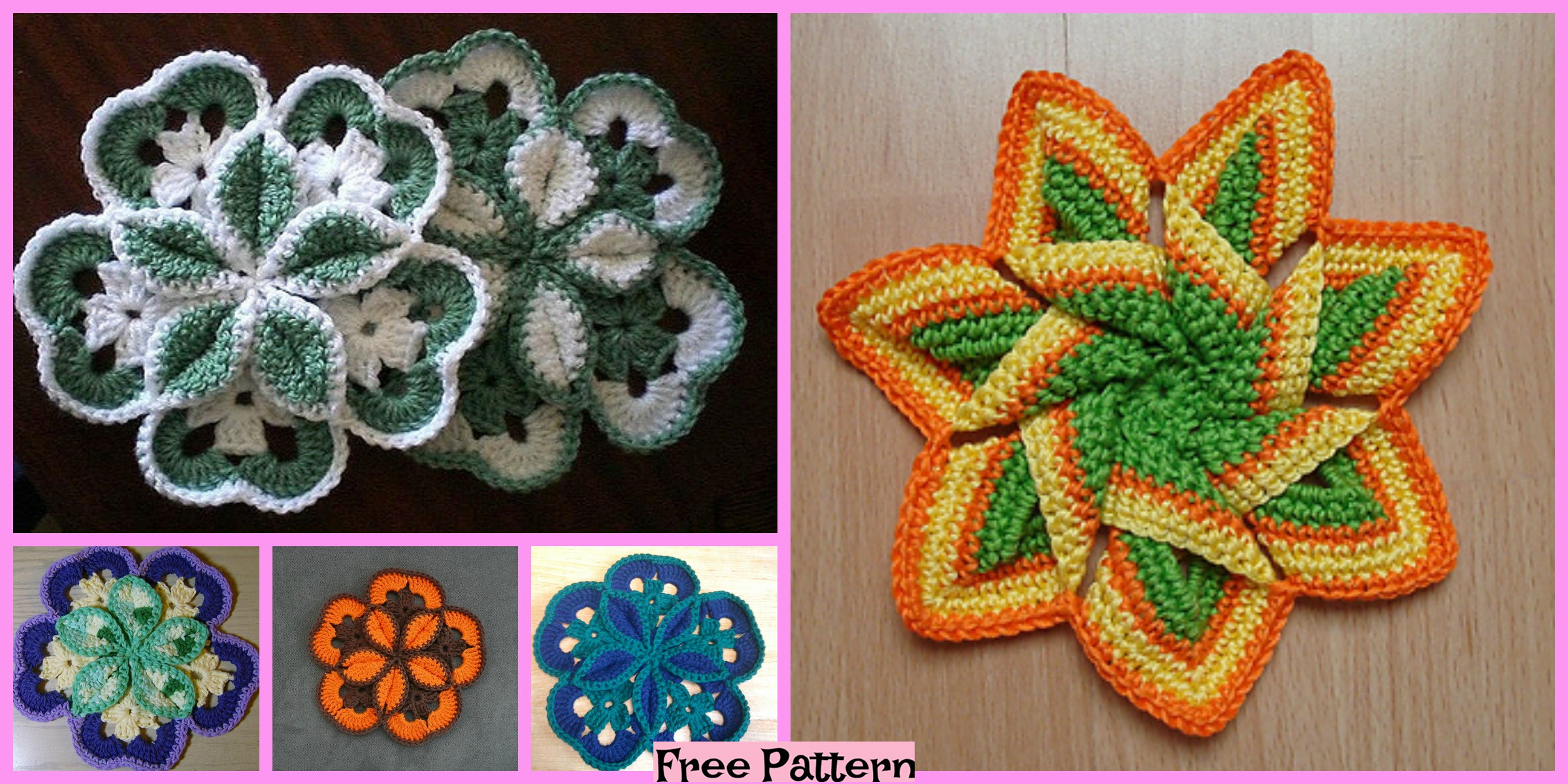 Crochet Flower Hot Pads – Free Patterns