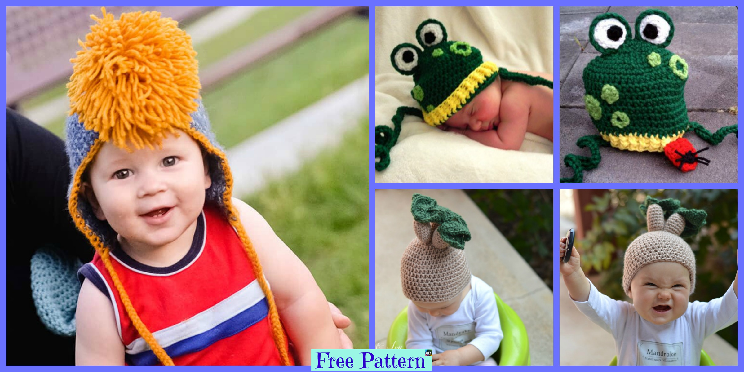 Kids Crochet Funny Hat  –  Free Patterns
