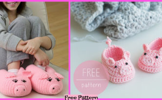 diy4ever-Crochet Piggy Baby Booties - Free Pattern