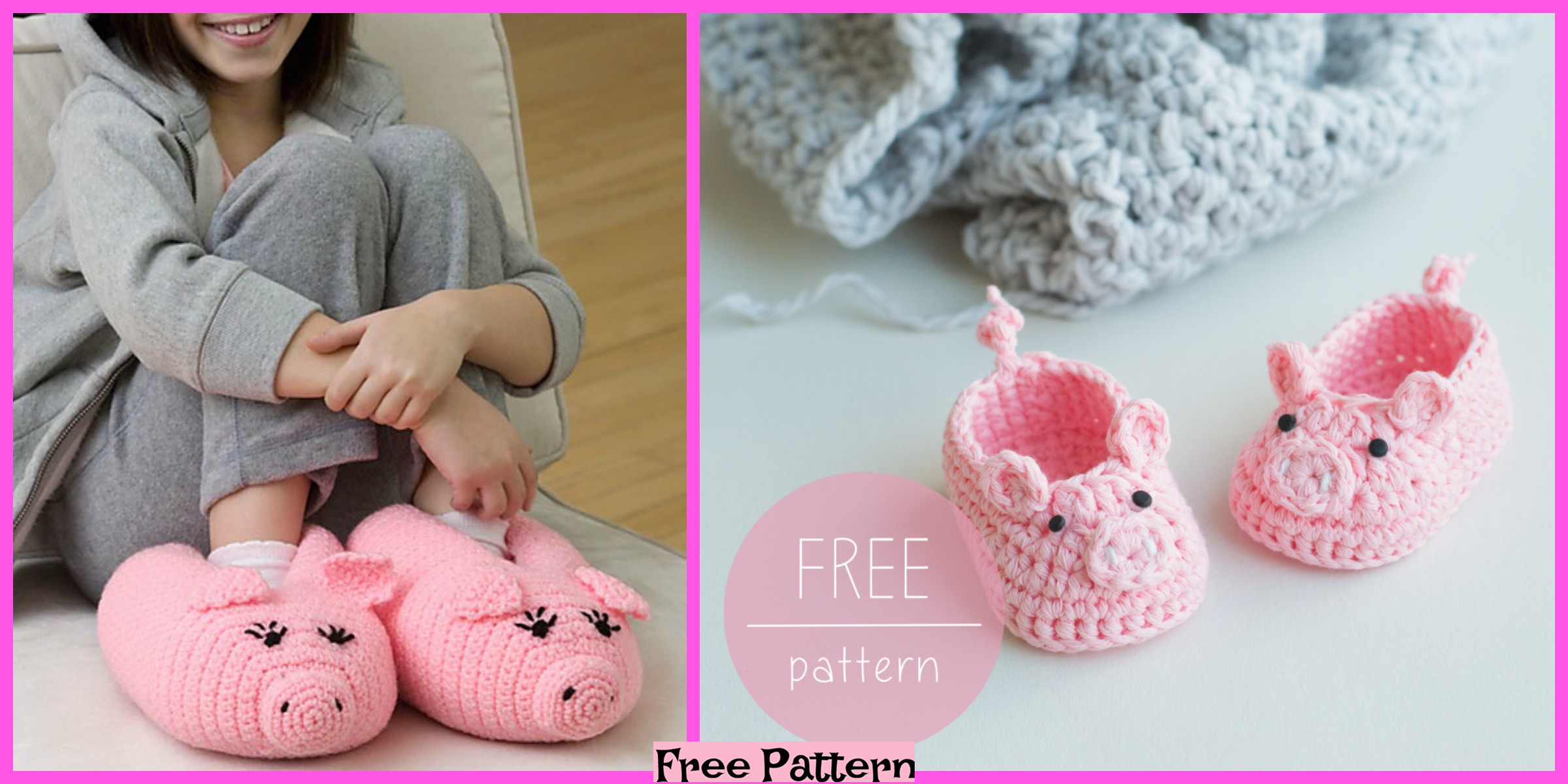 Crochet Piggy Baby Booties – Free Pattern