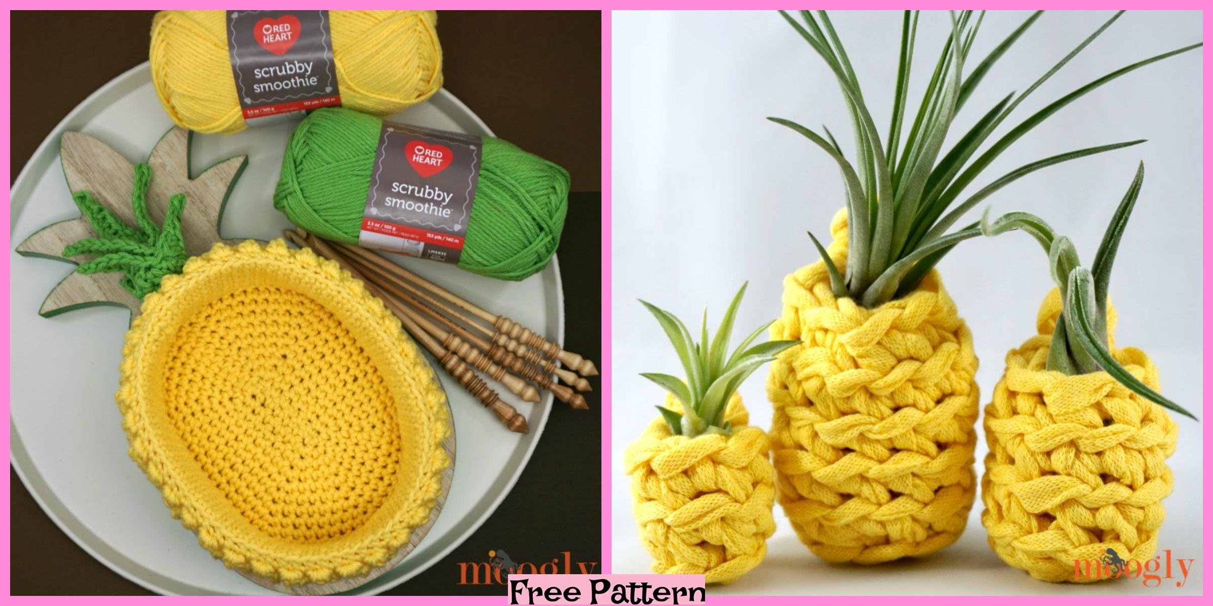 Crochet Pineapple Plant Hangers – Free Pattern