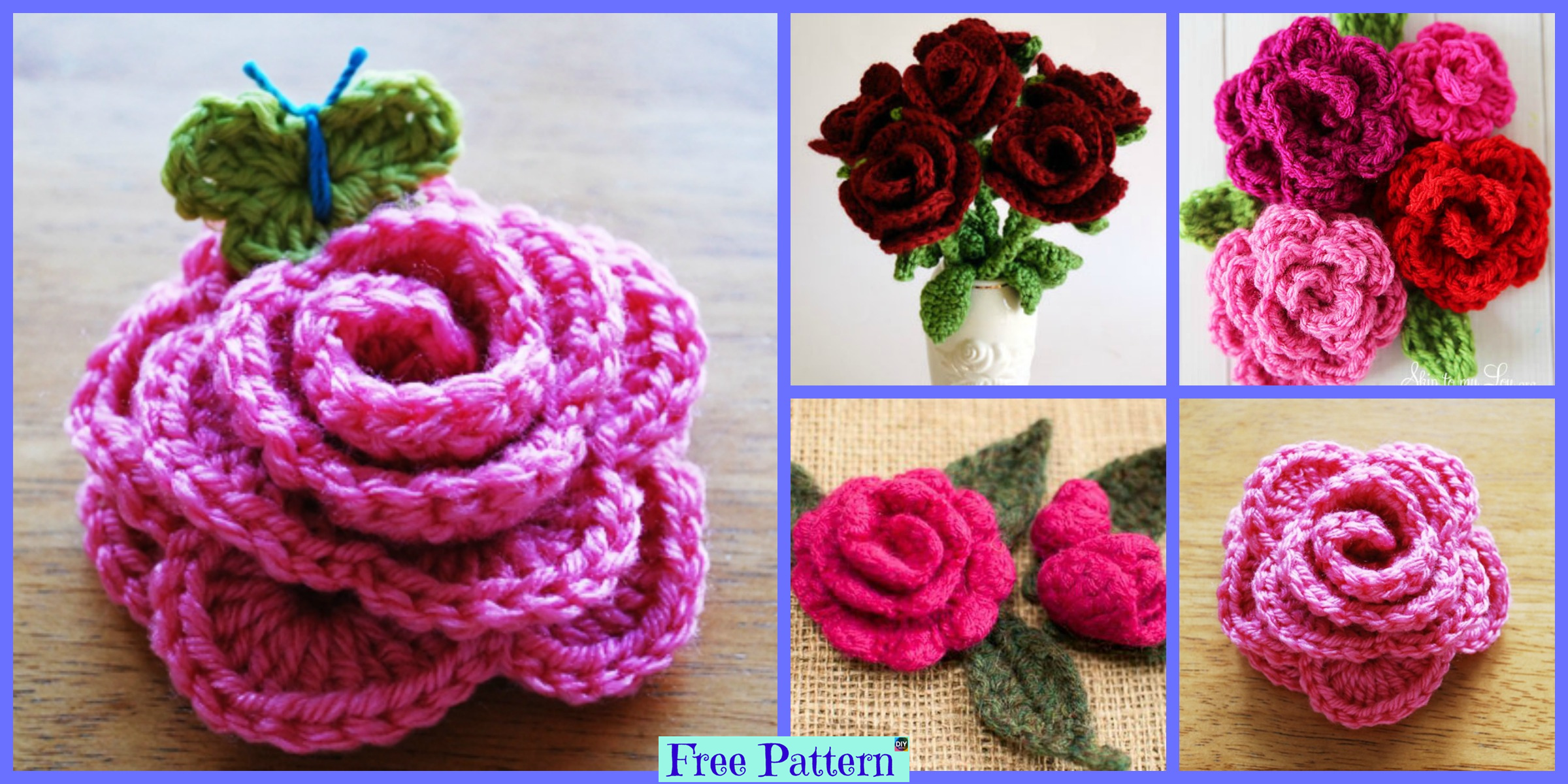 Crochet Rose Flowers – Free Patterns