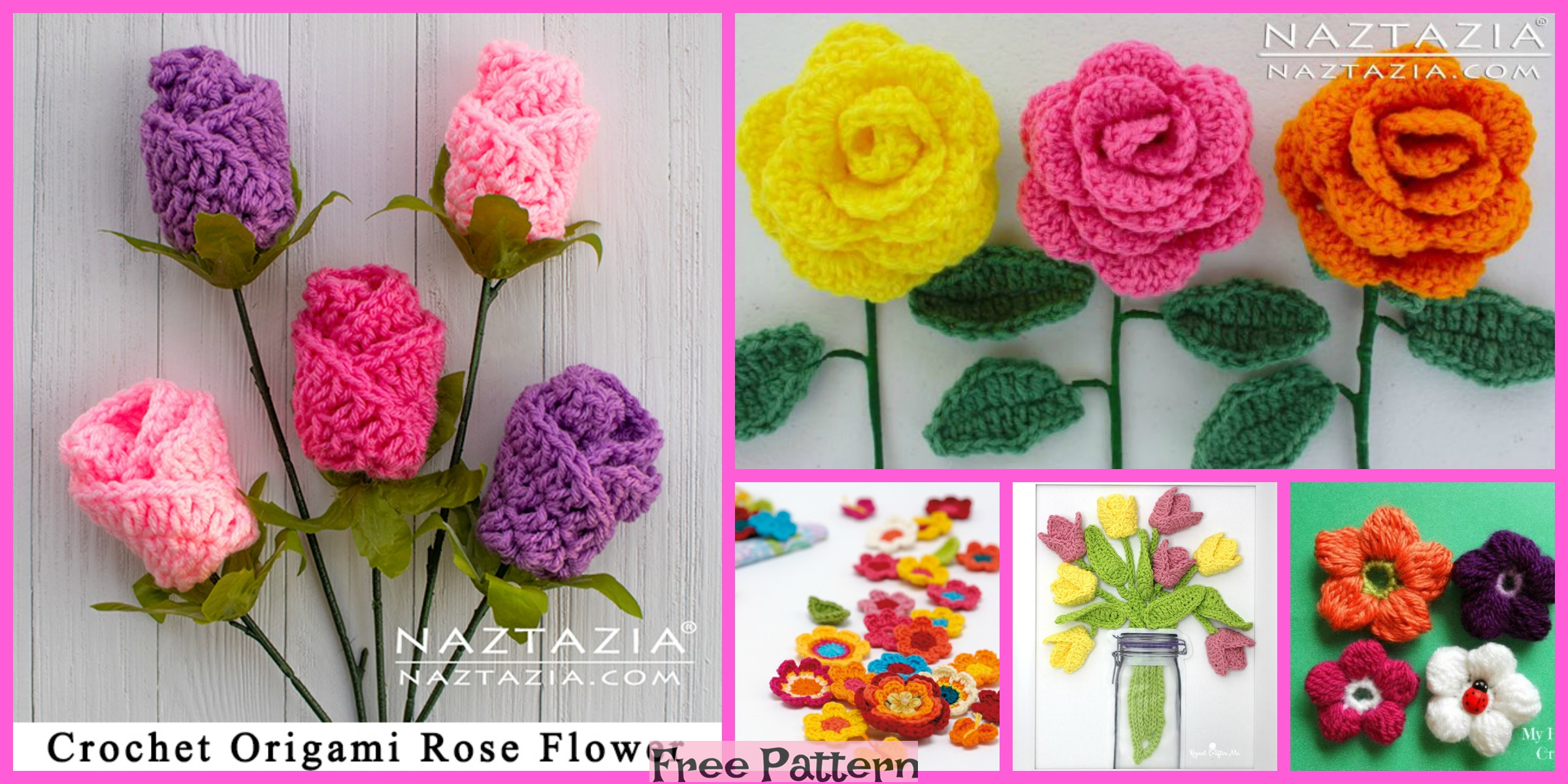 12 Beautiful Crocheted Flowers – Free Patterns