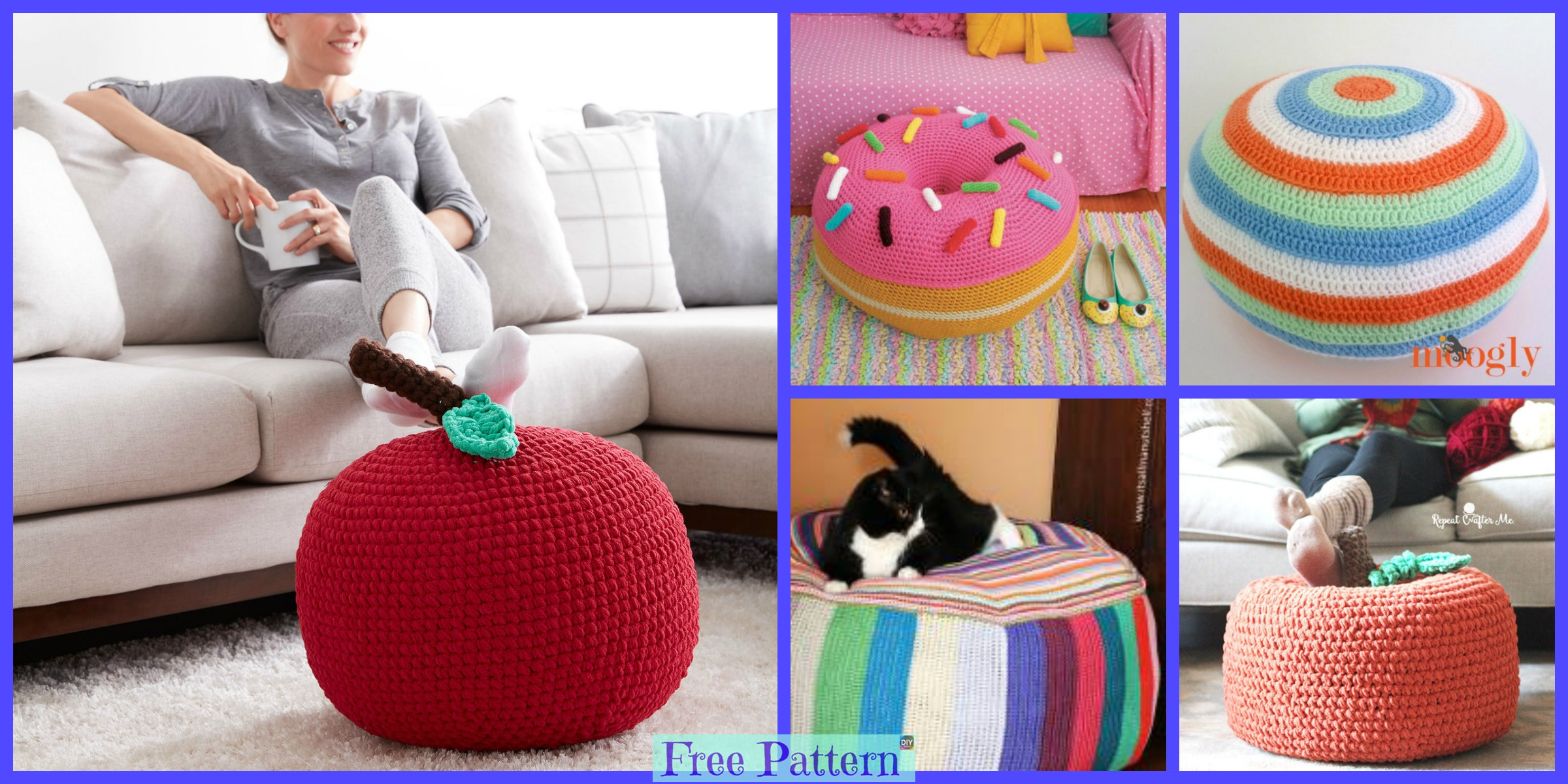 8 Crochet Colorful Pouf  Free Patterns