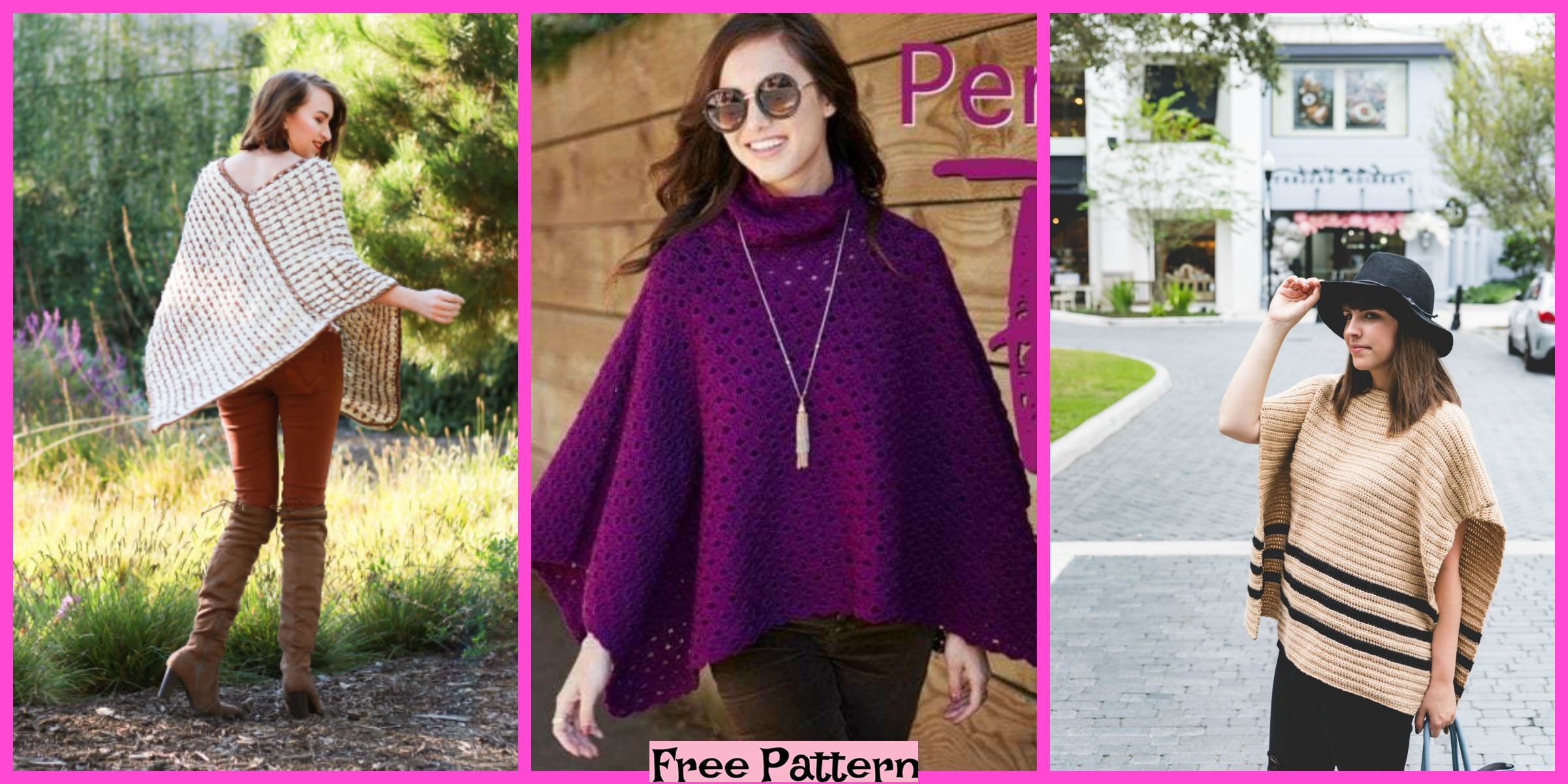 8 Pretty Crochet Uptown Poncho Free Patterns