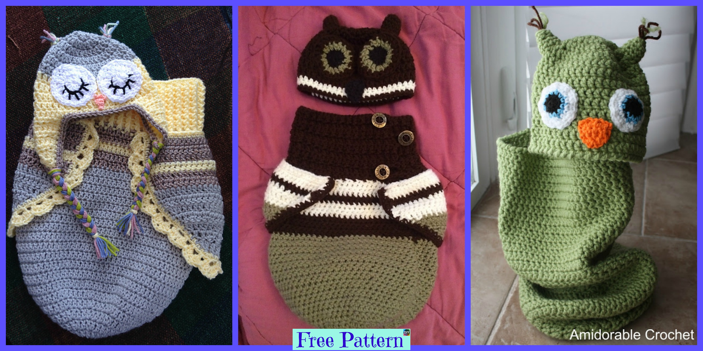 Crochet Baby Owl Cocoon & Hat – Free Patterns