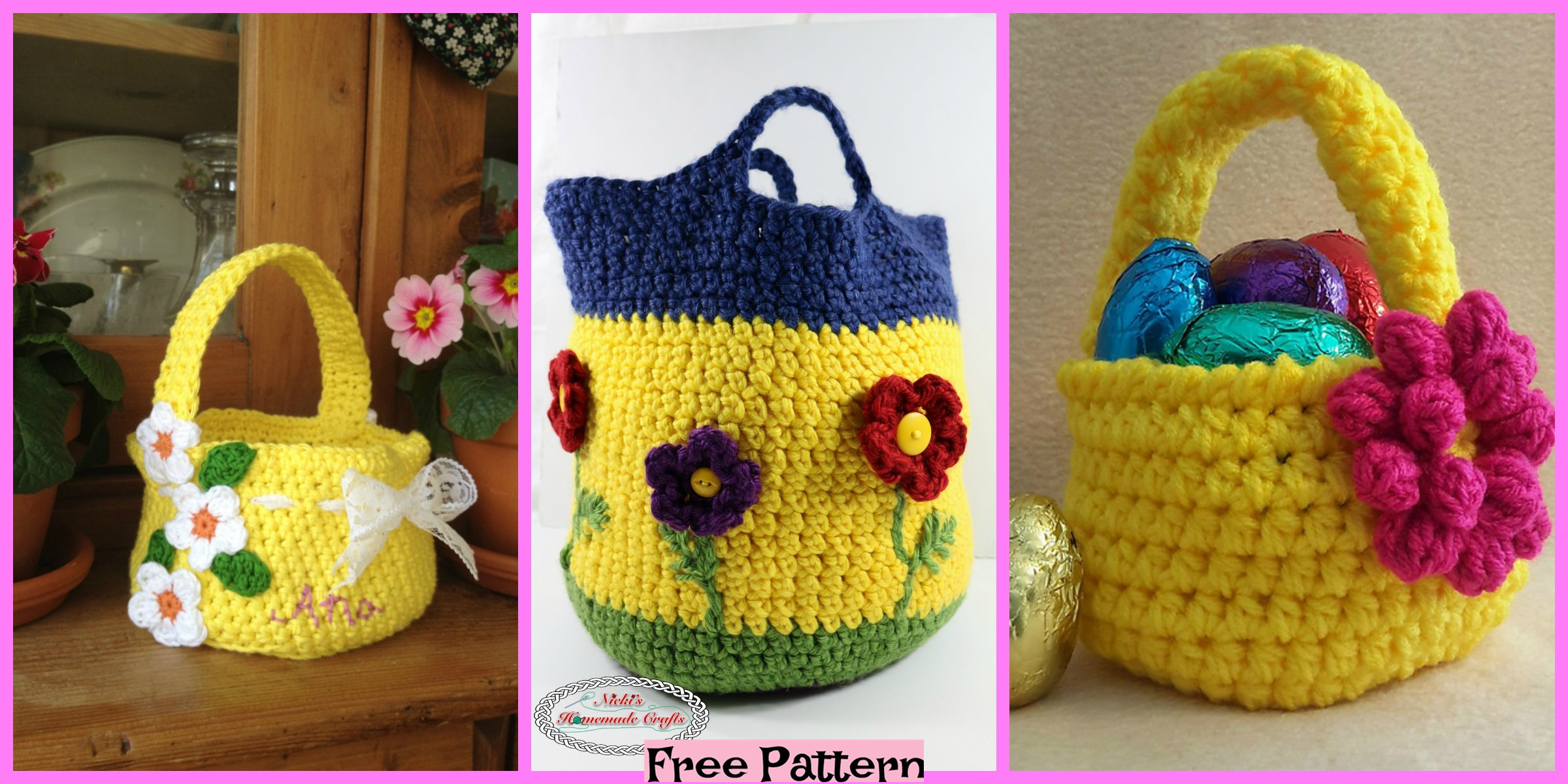 Crochet Flower Basket – Free Patterns