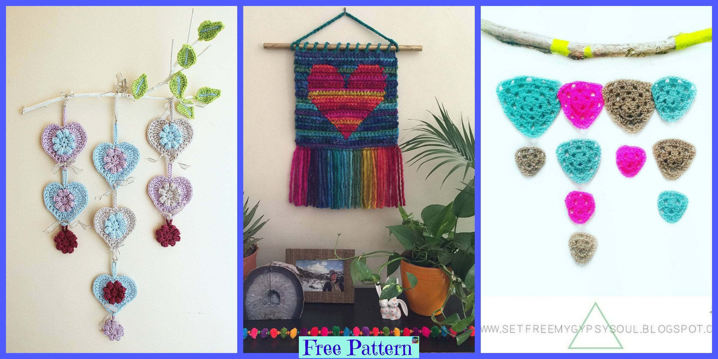 Crochet Heart Wall Hanging – Free Patterns