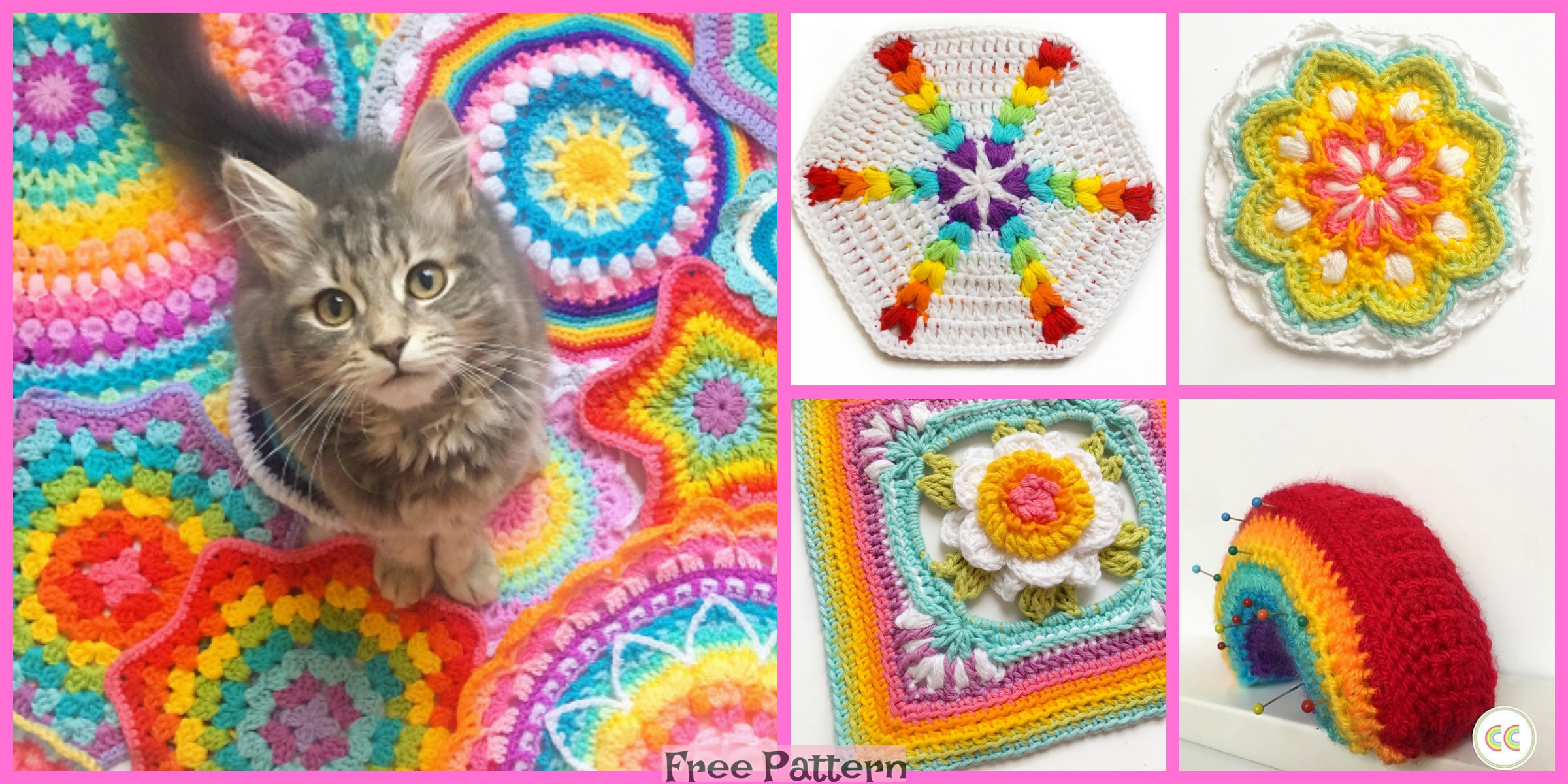 Crochet Rainbow Puff Hexagon – Free Pattern