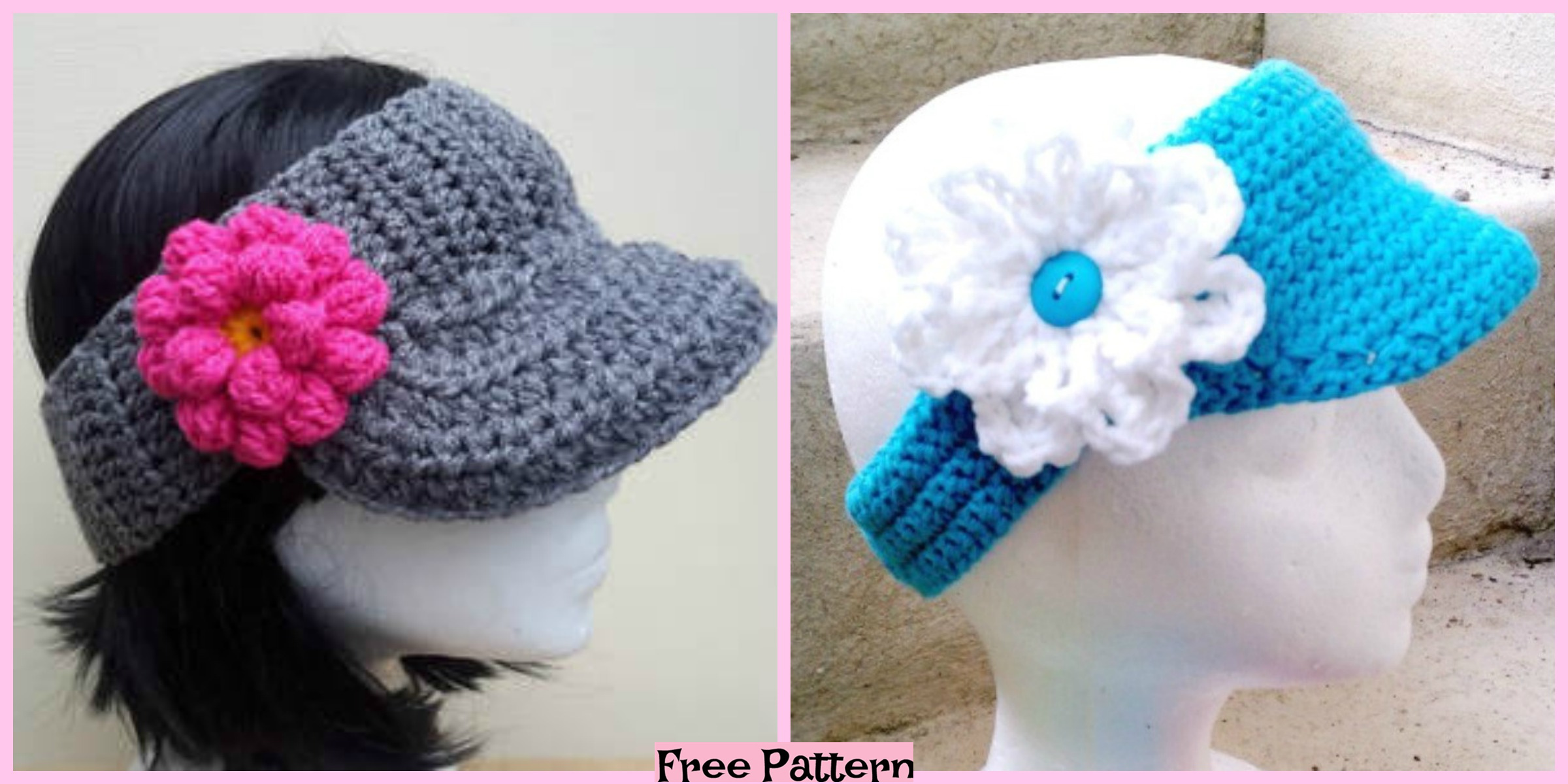 Crochet Sun Visor Caps- Free Patterns