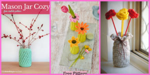 diy4ever-Crochet Vase Cozy Decoration - Free Patterns