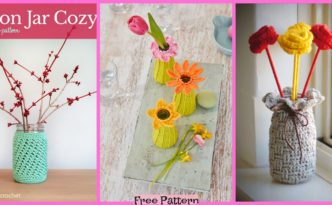 diy4ever-Crochet Vase Cozy Decoration - Free Patterns