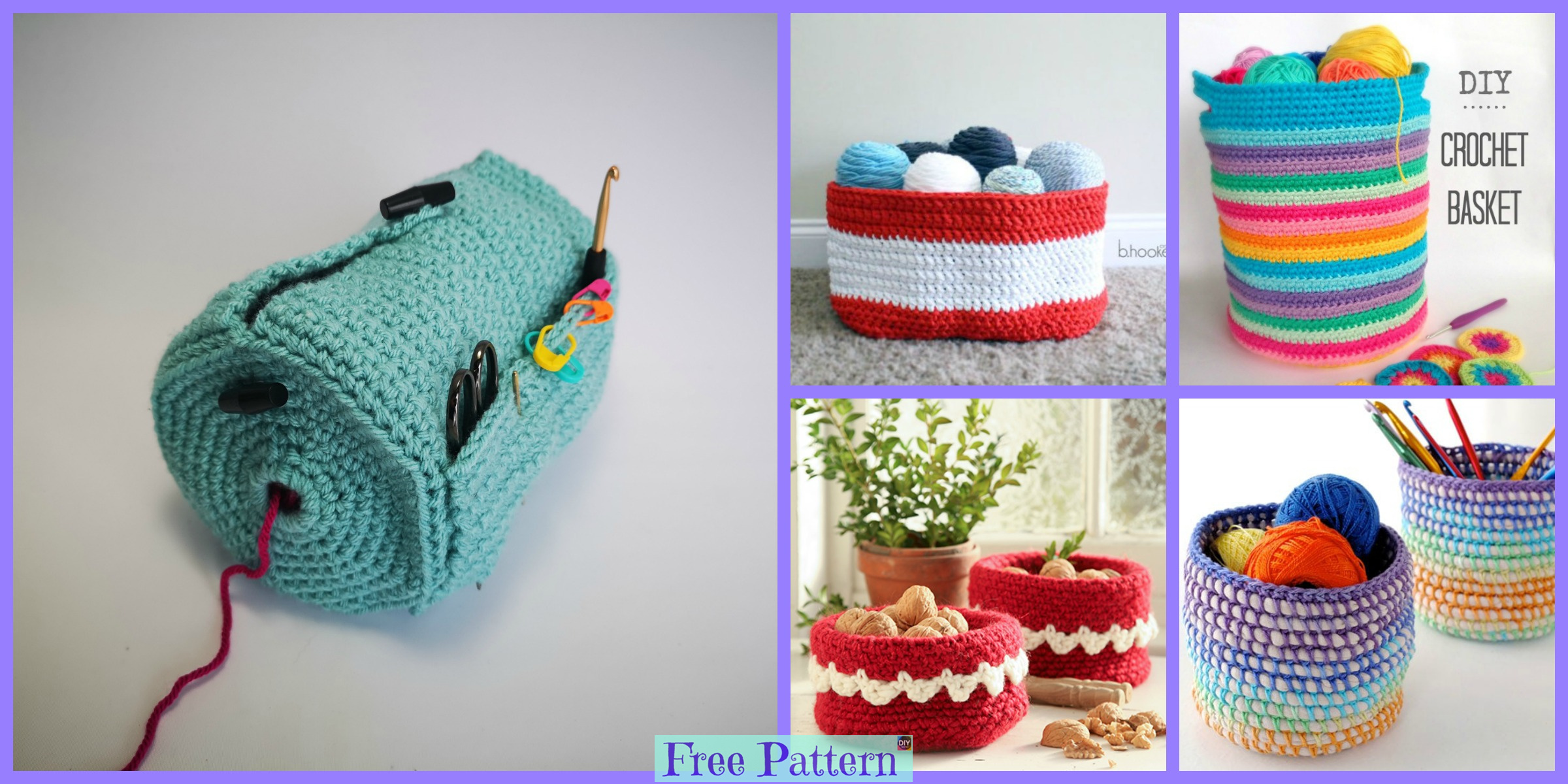 Useful Crochet Yarn Buddy & Basket – Free Patterns