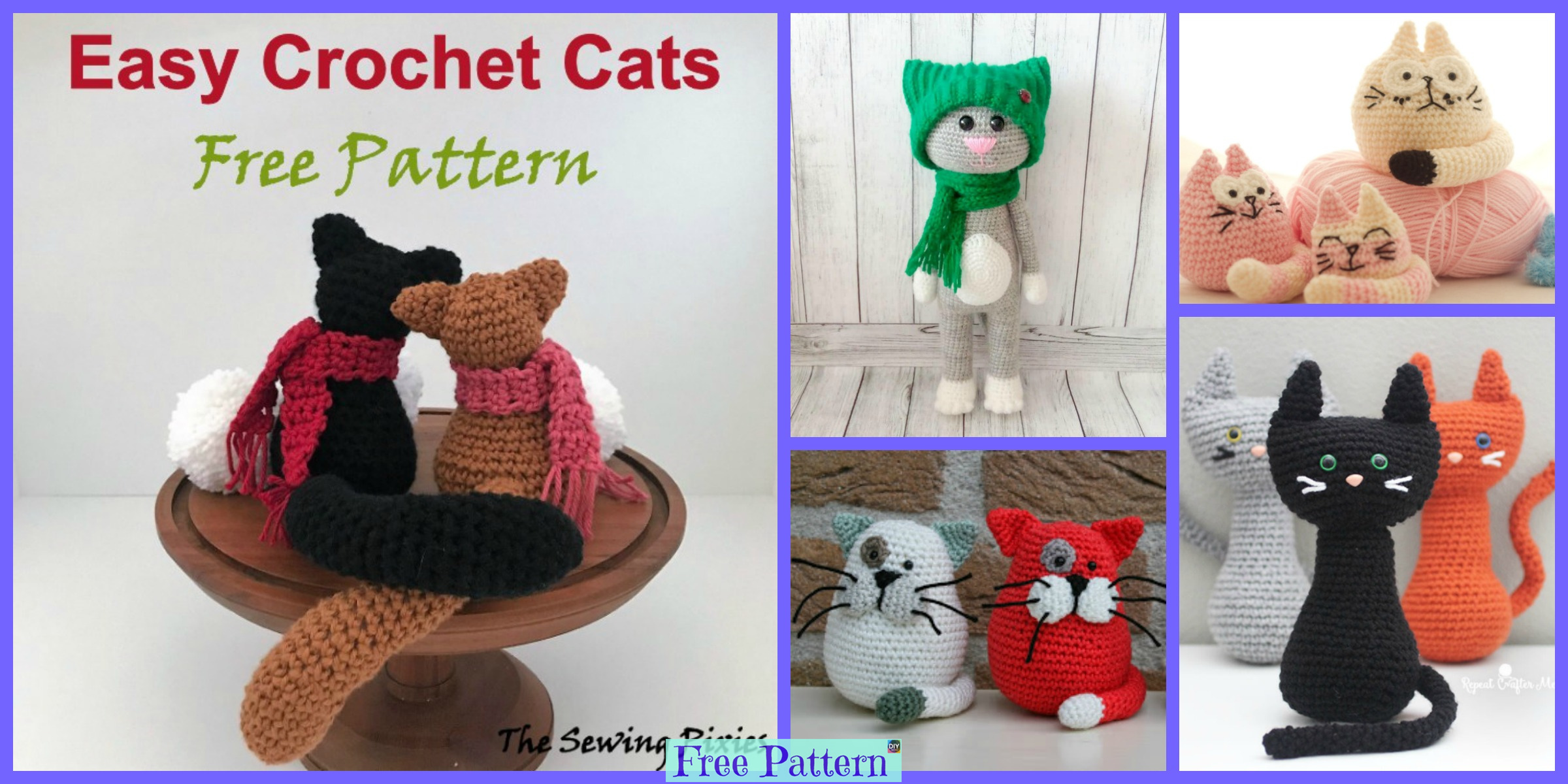 10 Crochet Cats Home Decor Free Patterns