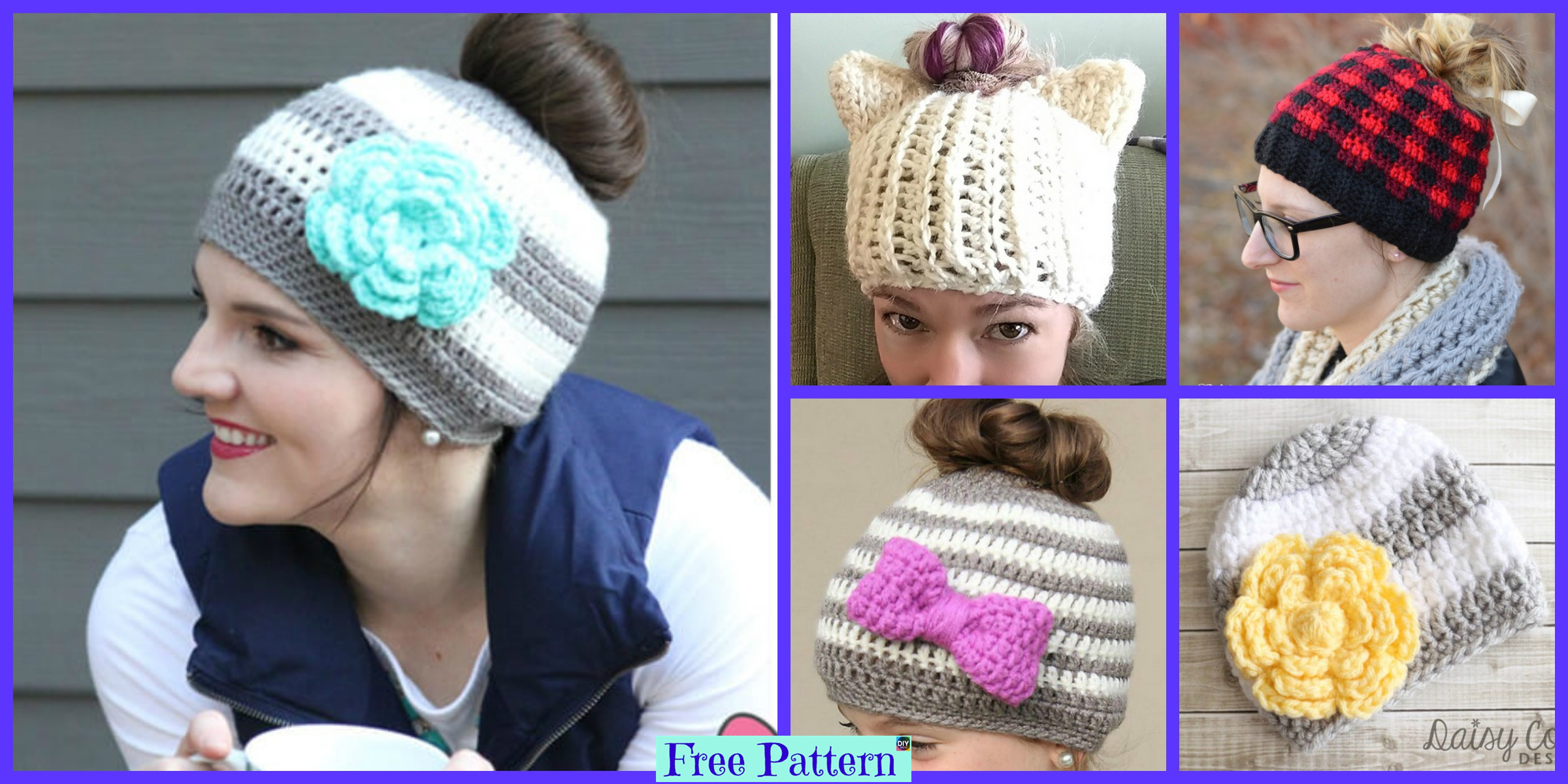 8 Crochet Messy Bun Hat Free Patterns
