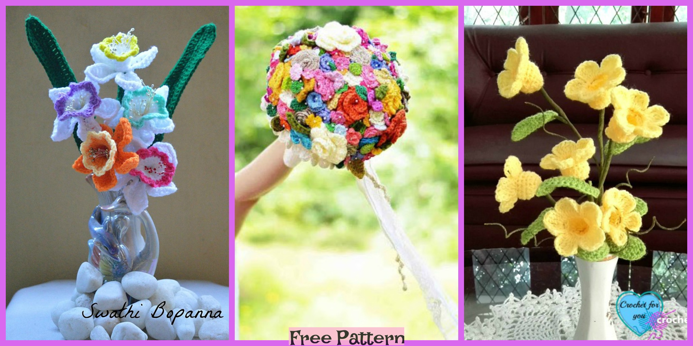 8 Pretty Crochet Flower Bouquets – Free Patterns