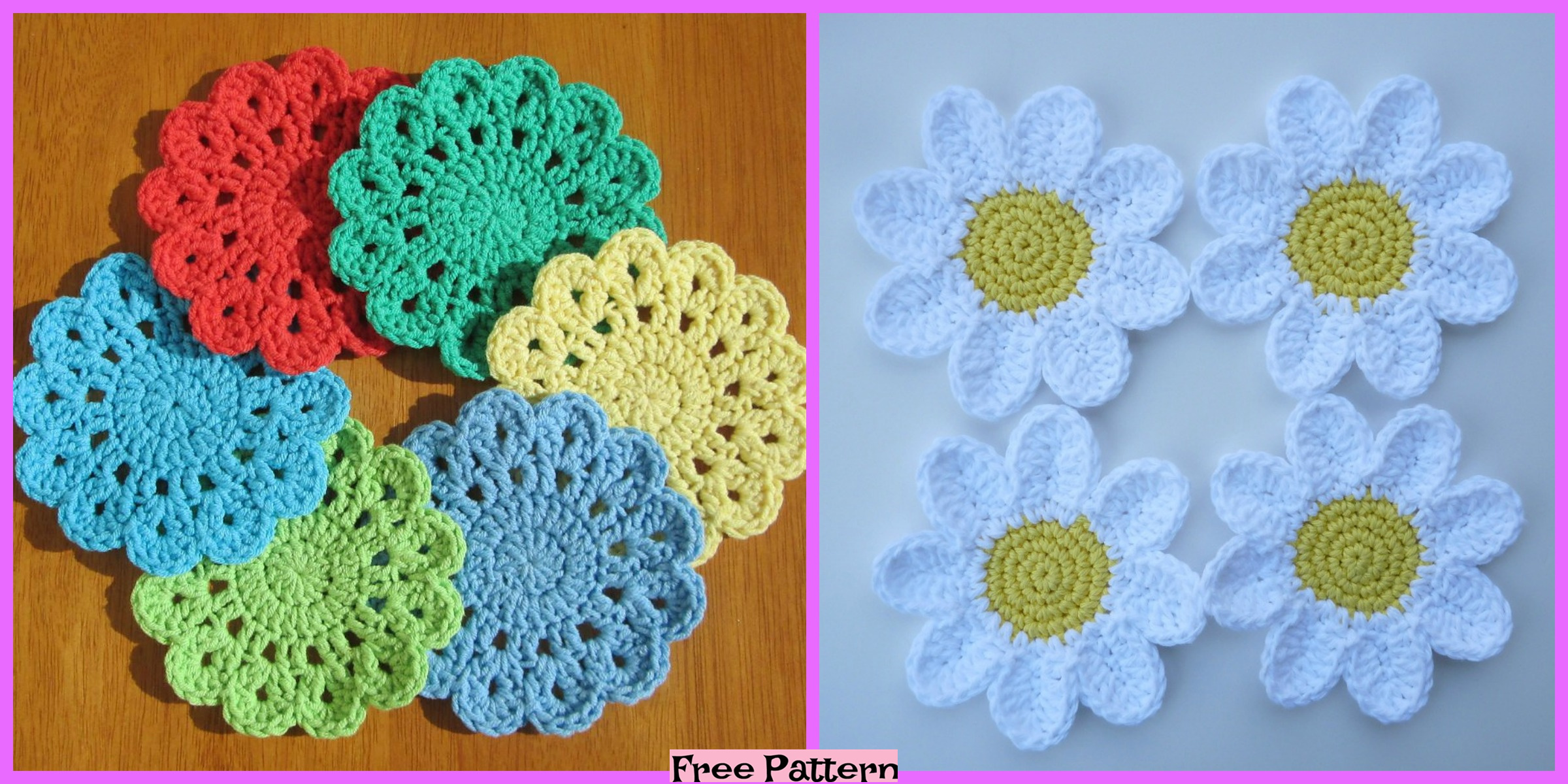 Crochet Flower Coasters – Free Patterns