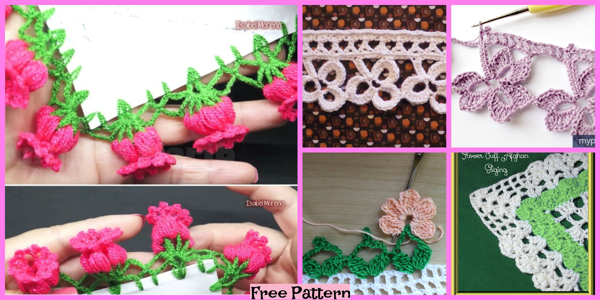 Pretty Crochet Flower Edging – Free Patterns