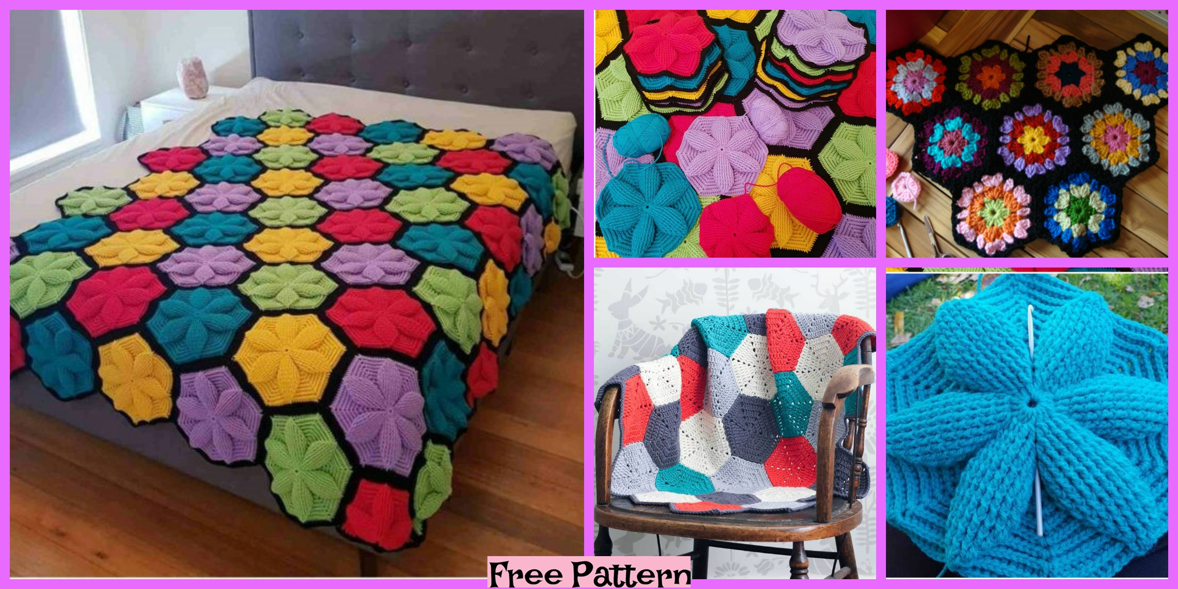 Crochet Hexagon Blanket – Free Patterns