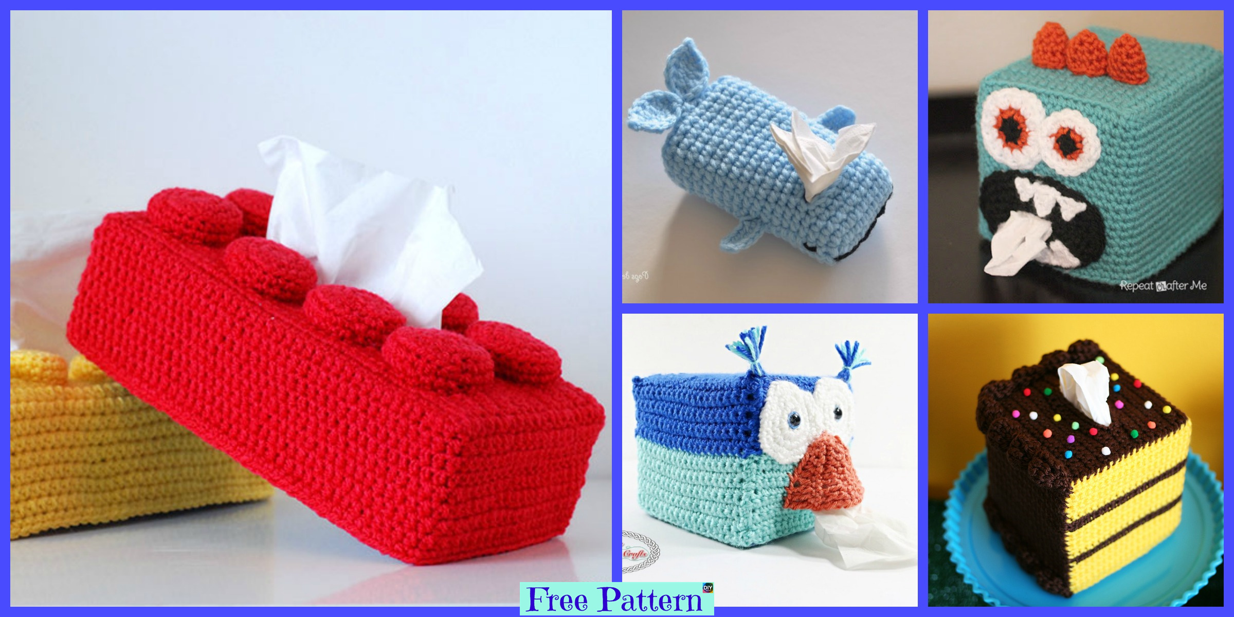 8 Crochet Tissue Box Cover Free Patterns