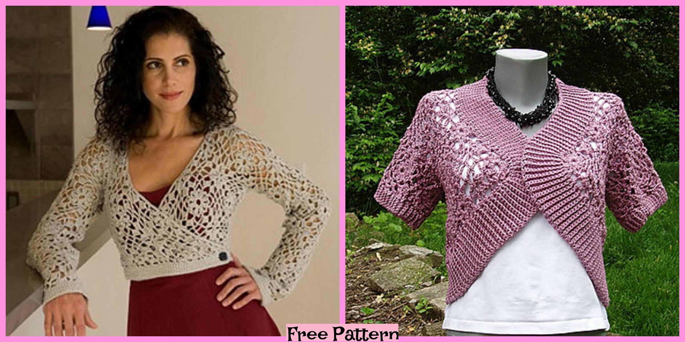 Stylish Crochet Wrap Top – Free Patterns