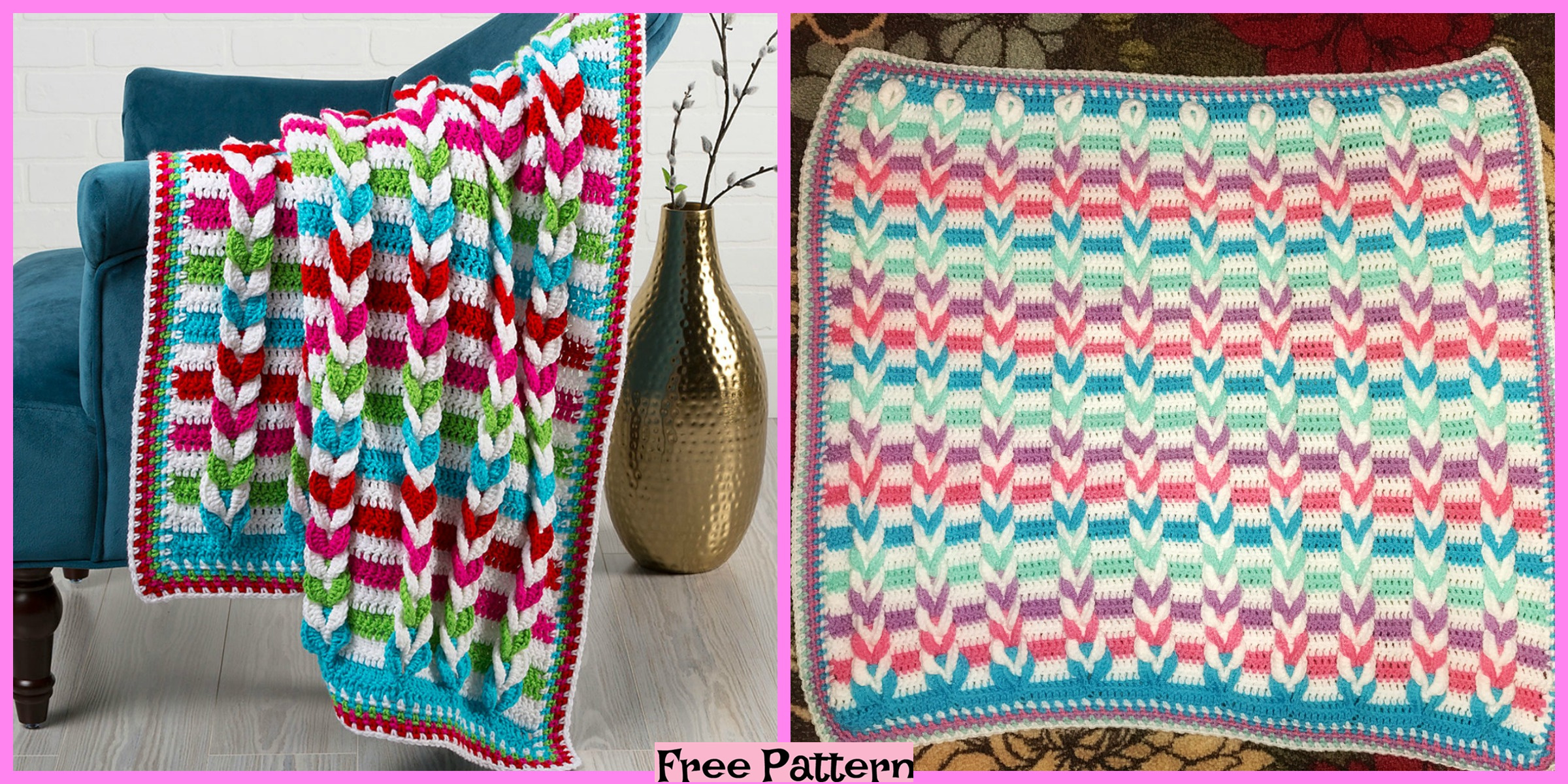 Pulled Crochet Taffy  Blanket – Free Pattern