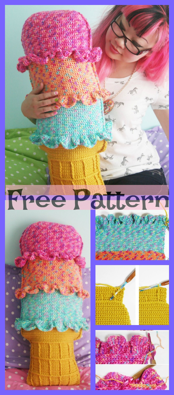 Crochet Rainbow Pillows - Free Patterns P1
