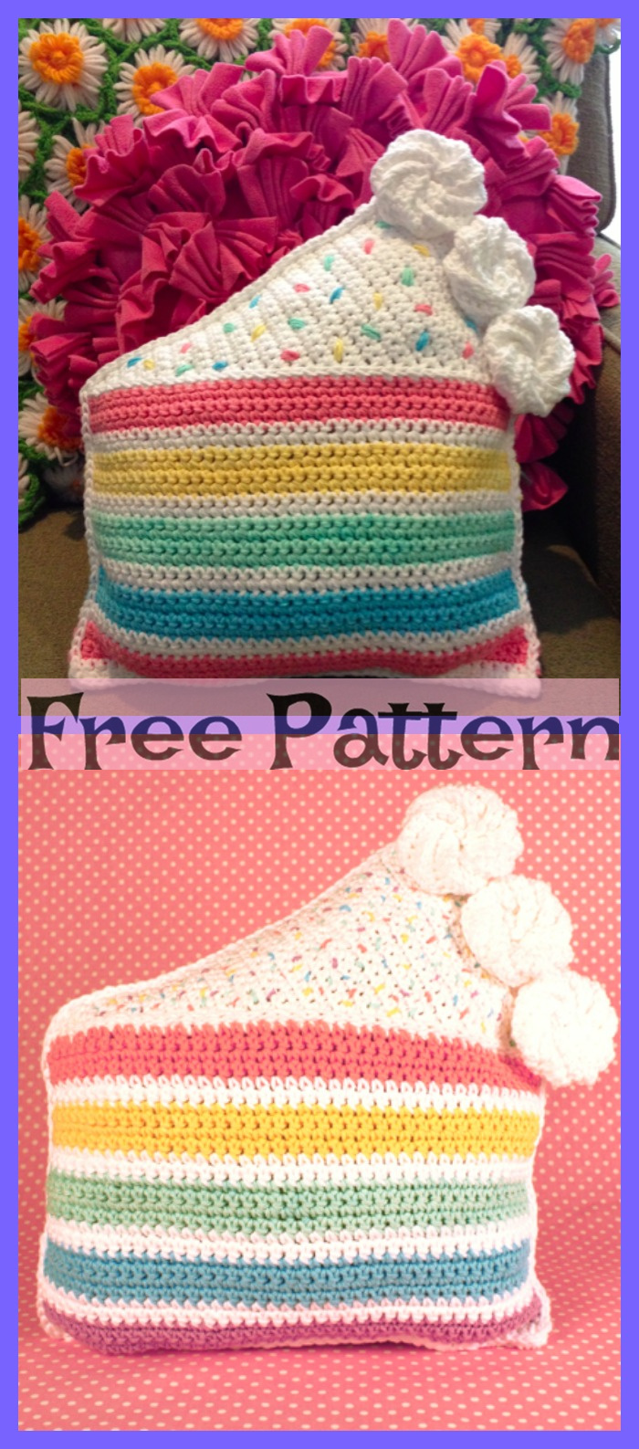 diy4ever- Crochet Rainbow Pillows - Free Patterns