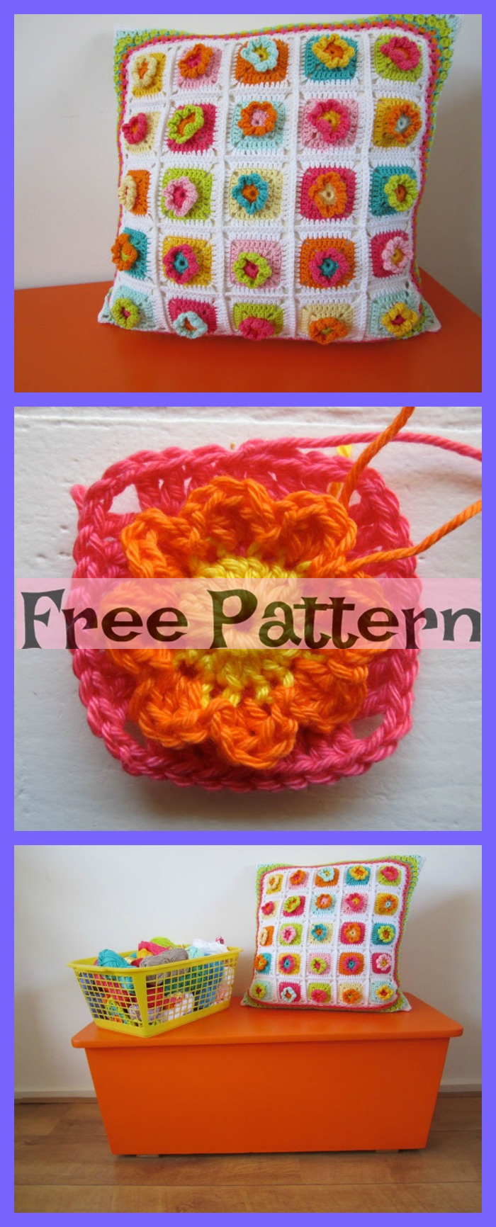 Crochet Rainbow Pillows - Free Patterns