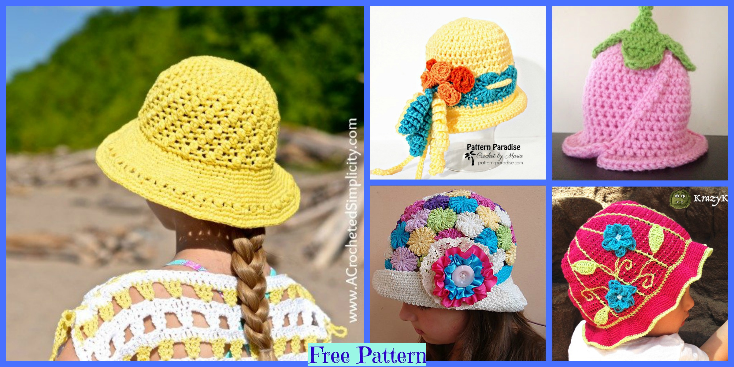 6 Summer Sun Hats – Free Crochet Patterns