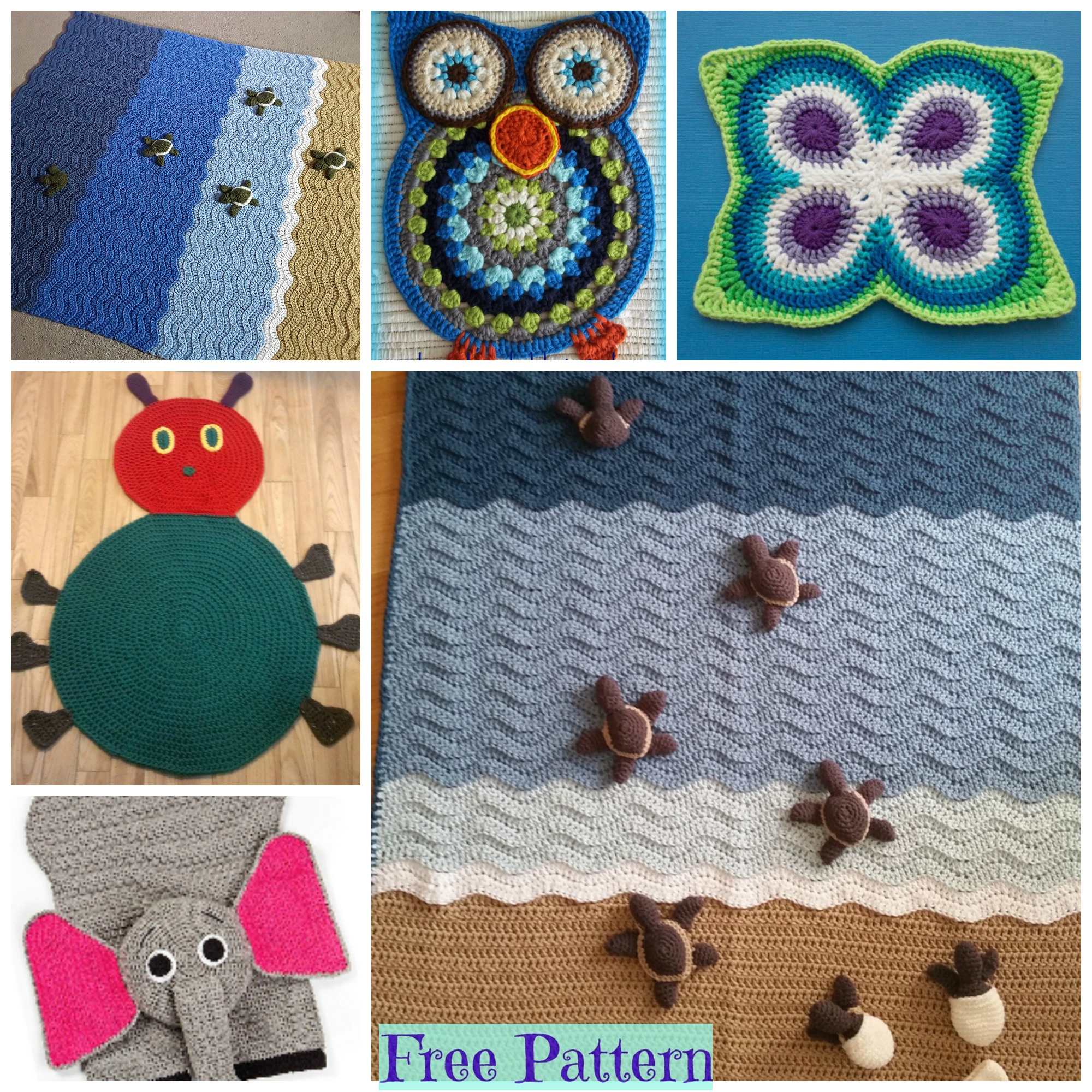 diy4ever-Crochet Animal Rugs - Free Patterns