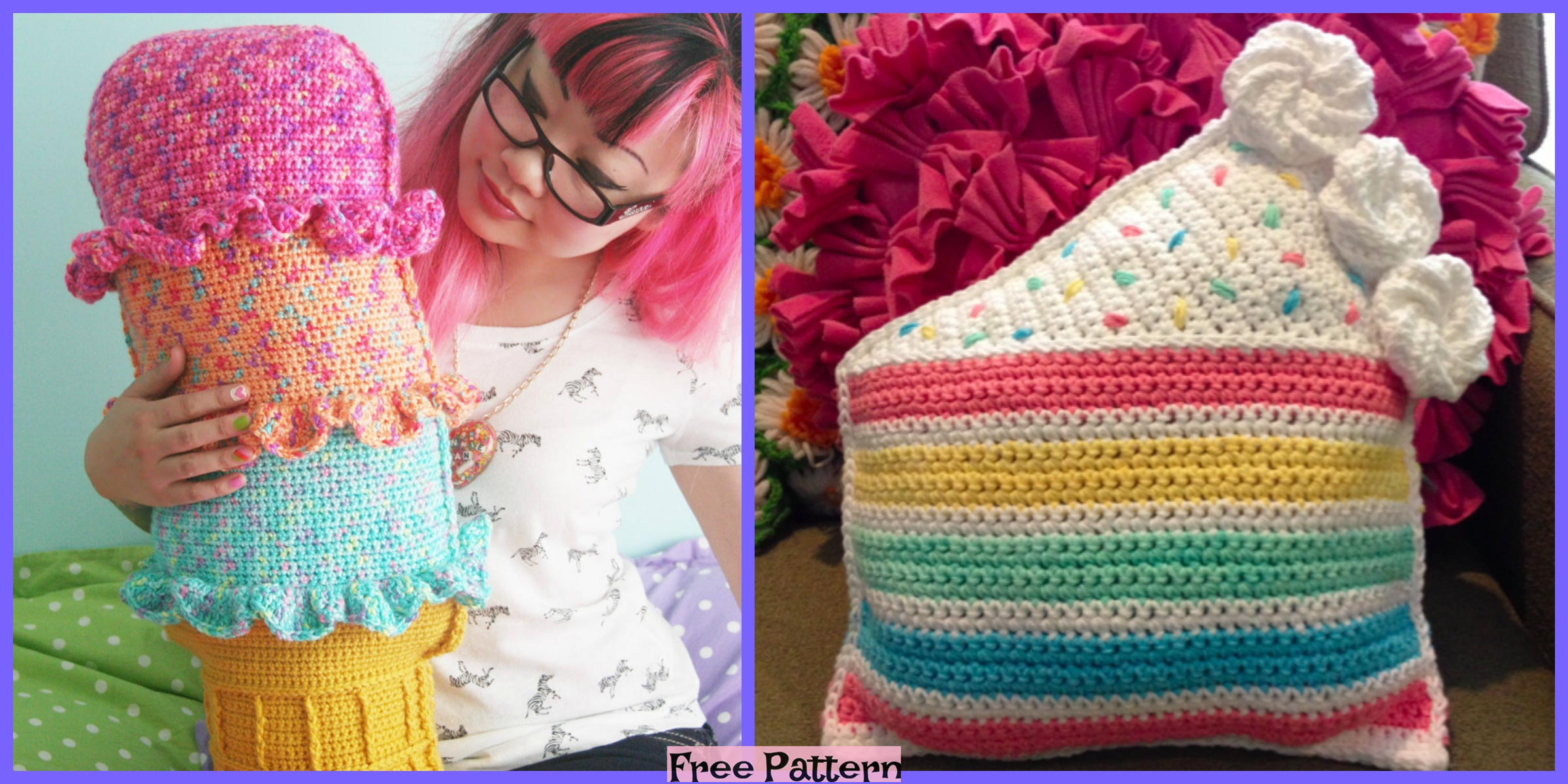 Crochet Rainbow Pillows – Free Patterns