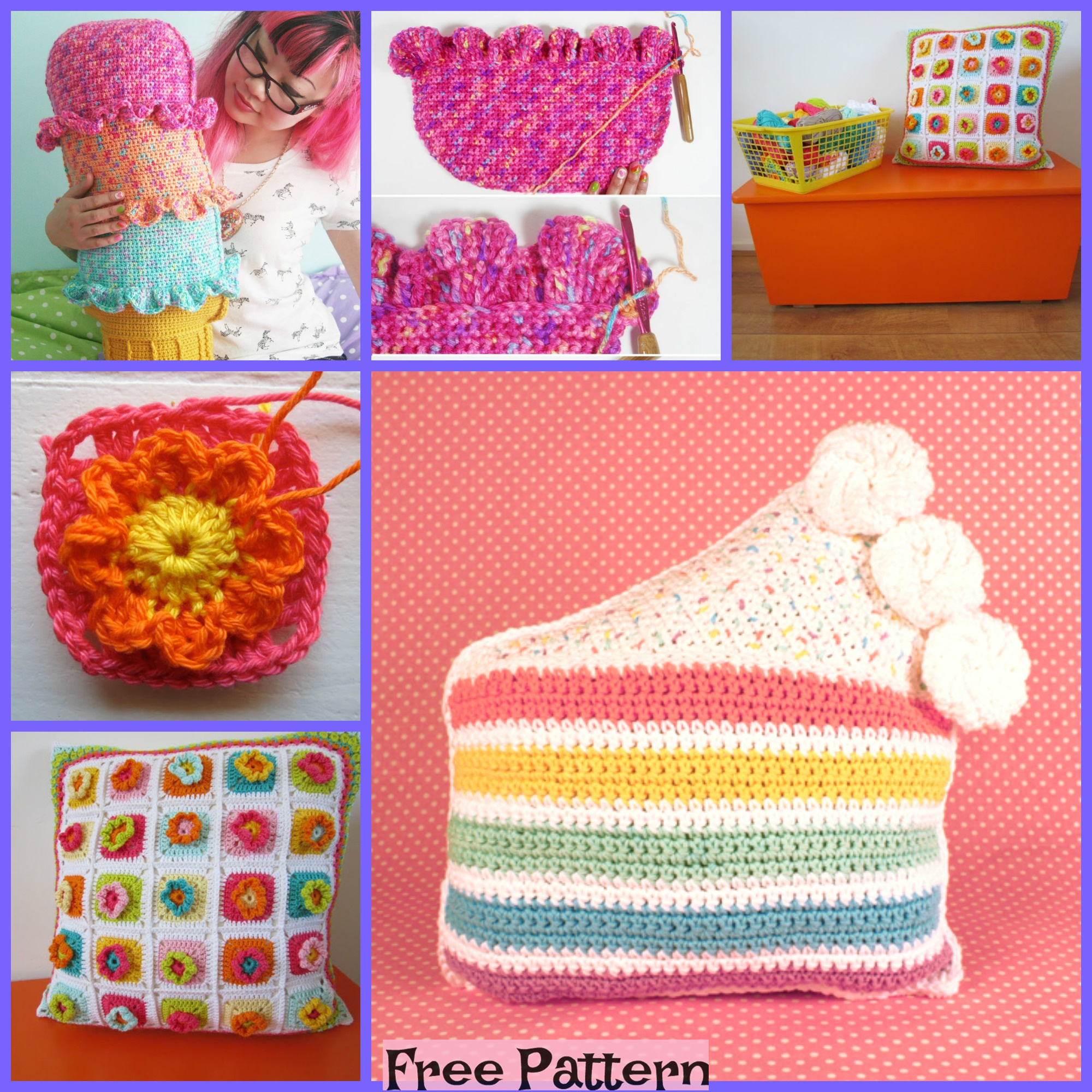 diy4ever- Crochet Rainbow Pillows - Free Patterns F2