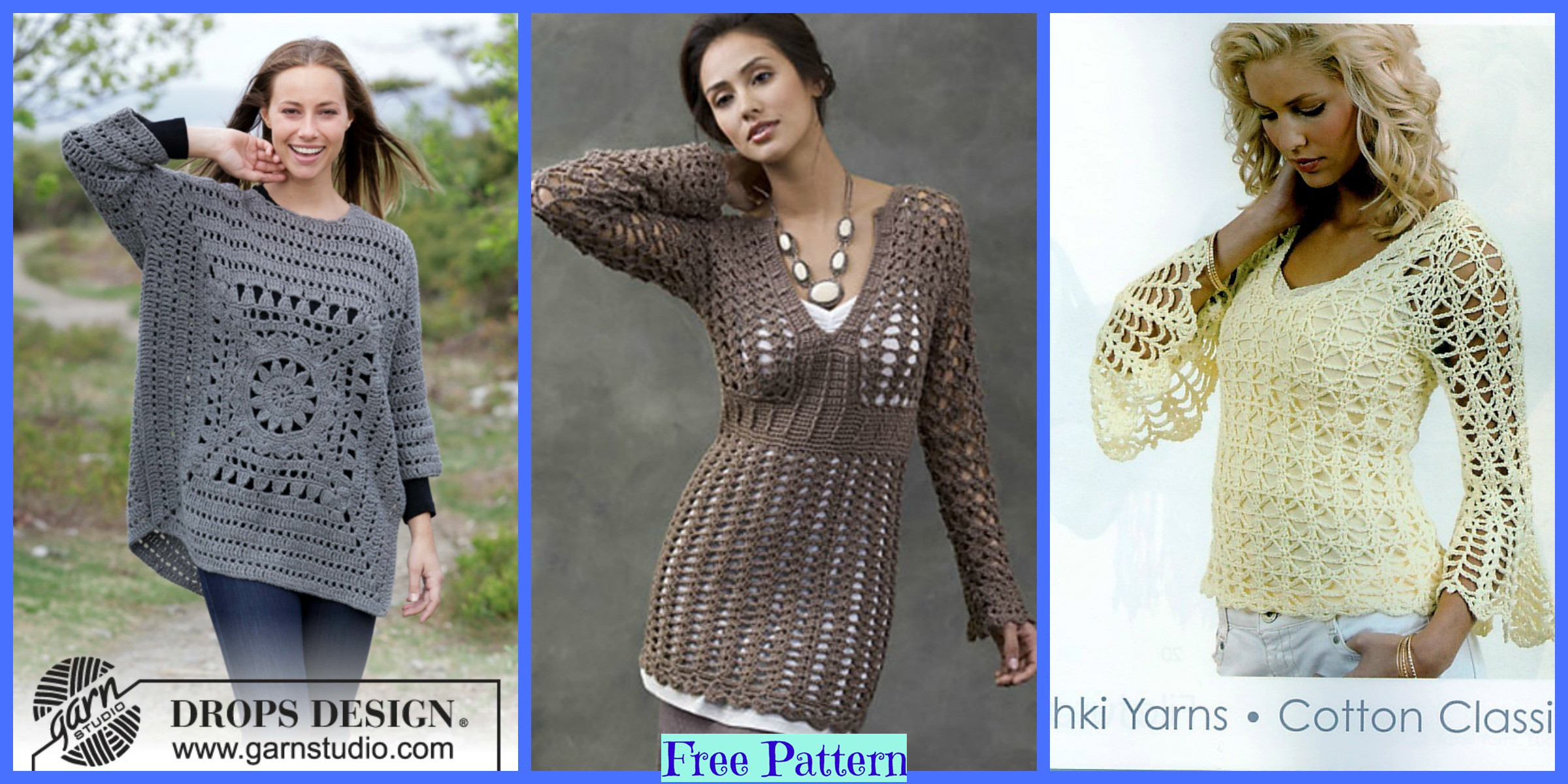 Pretty Crochet Sweaters – Free Patterns