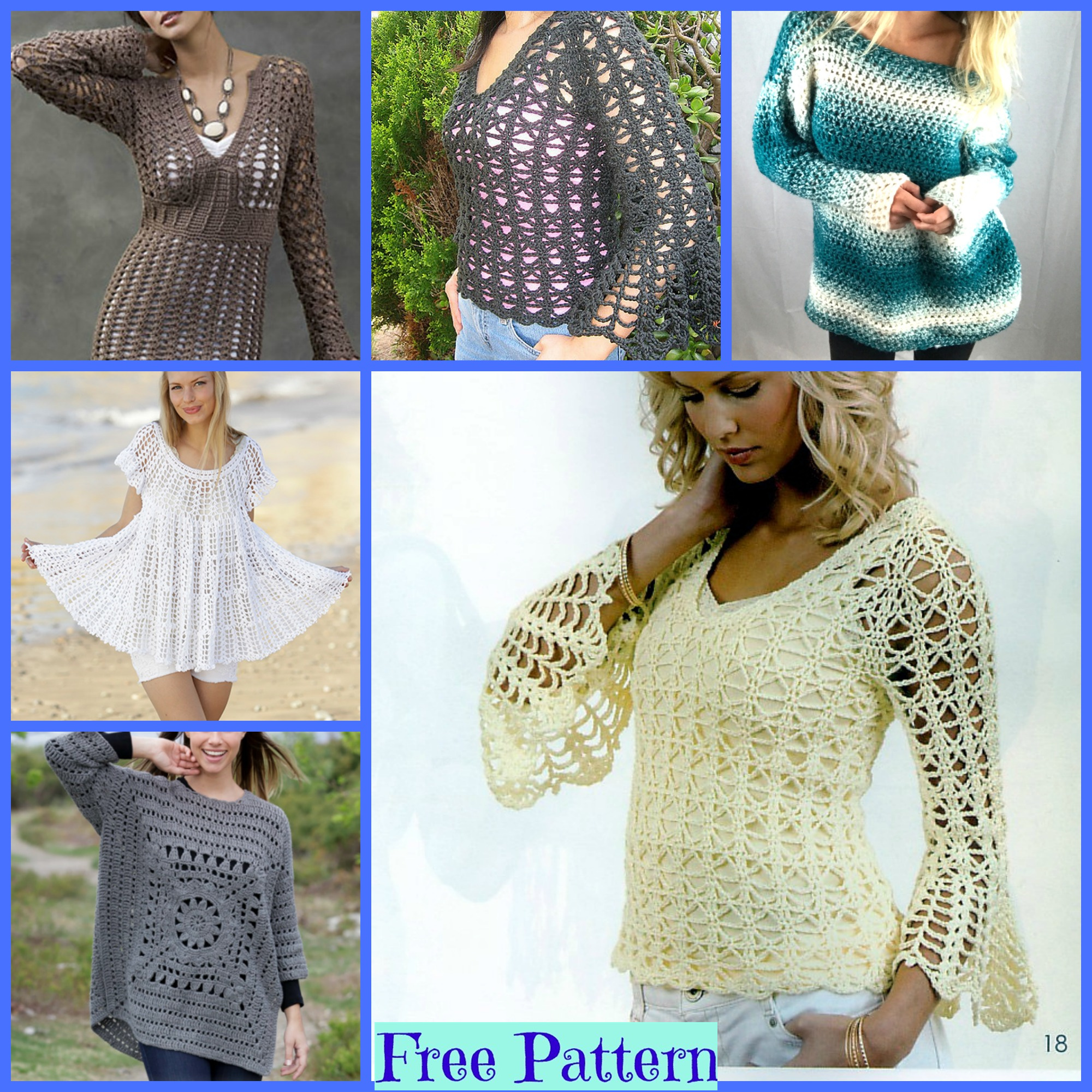 diy4ever-Pretty Crochet Sweaters - Free Patterns