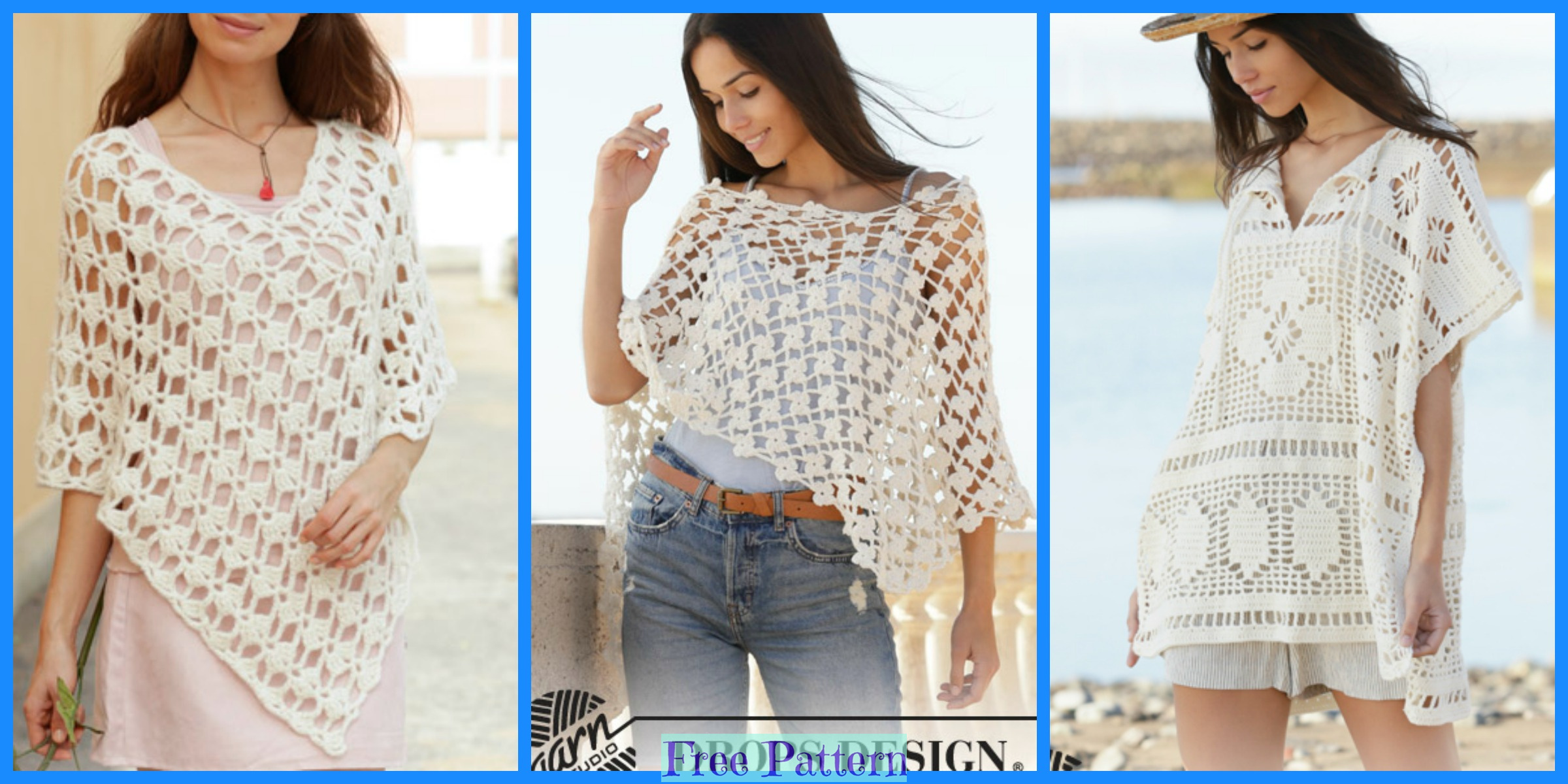 6 Crocheted Unique Poncho Free Patterns
