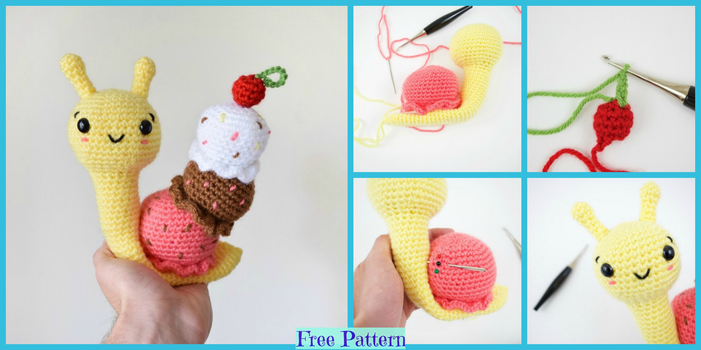 Crochet Amigurumi Ice Cream Snail – Free Pattern