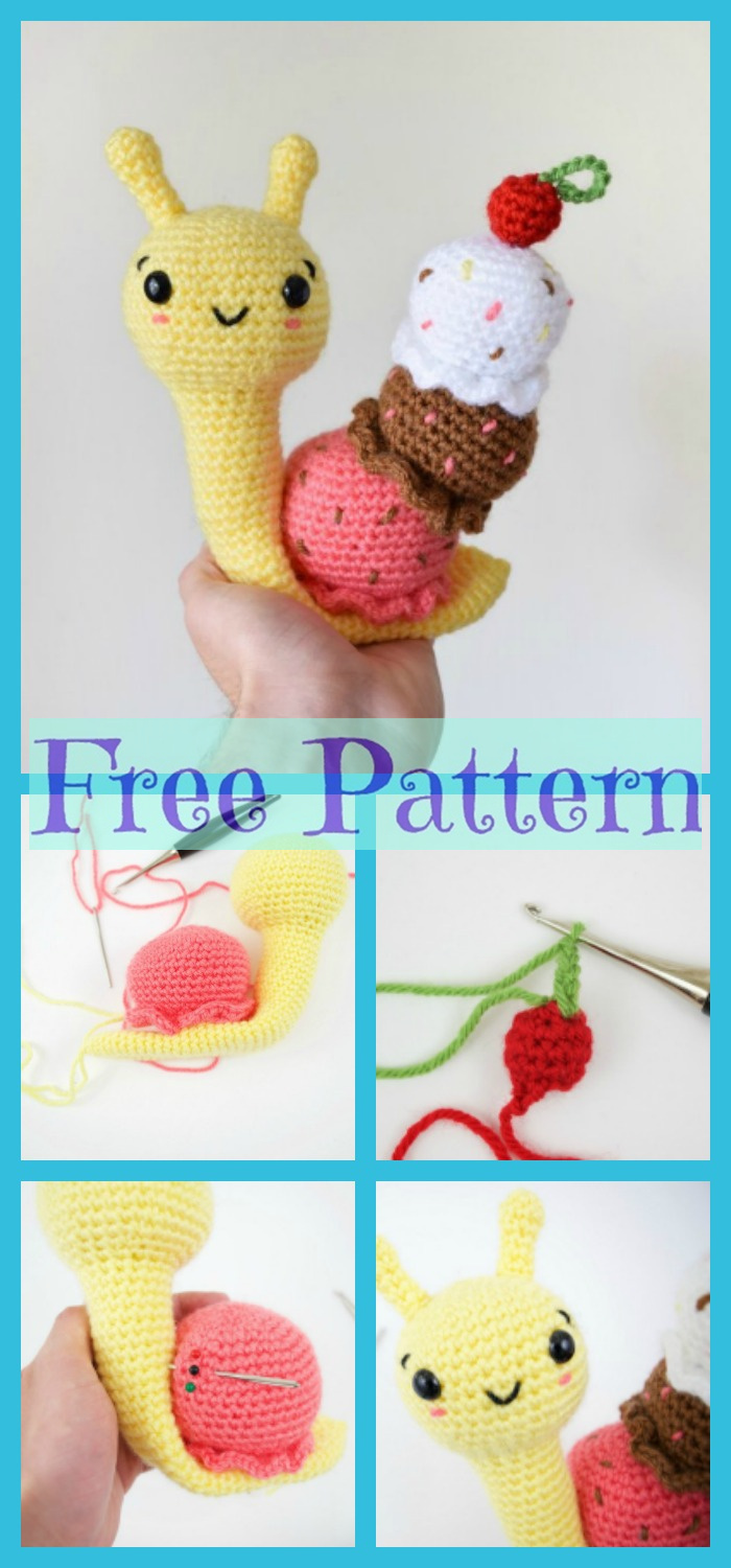 diy4ever-Crochet Amigurumi Ice Cream Snail - Free Pattern