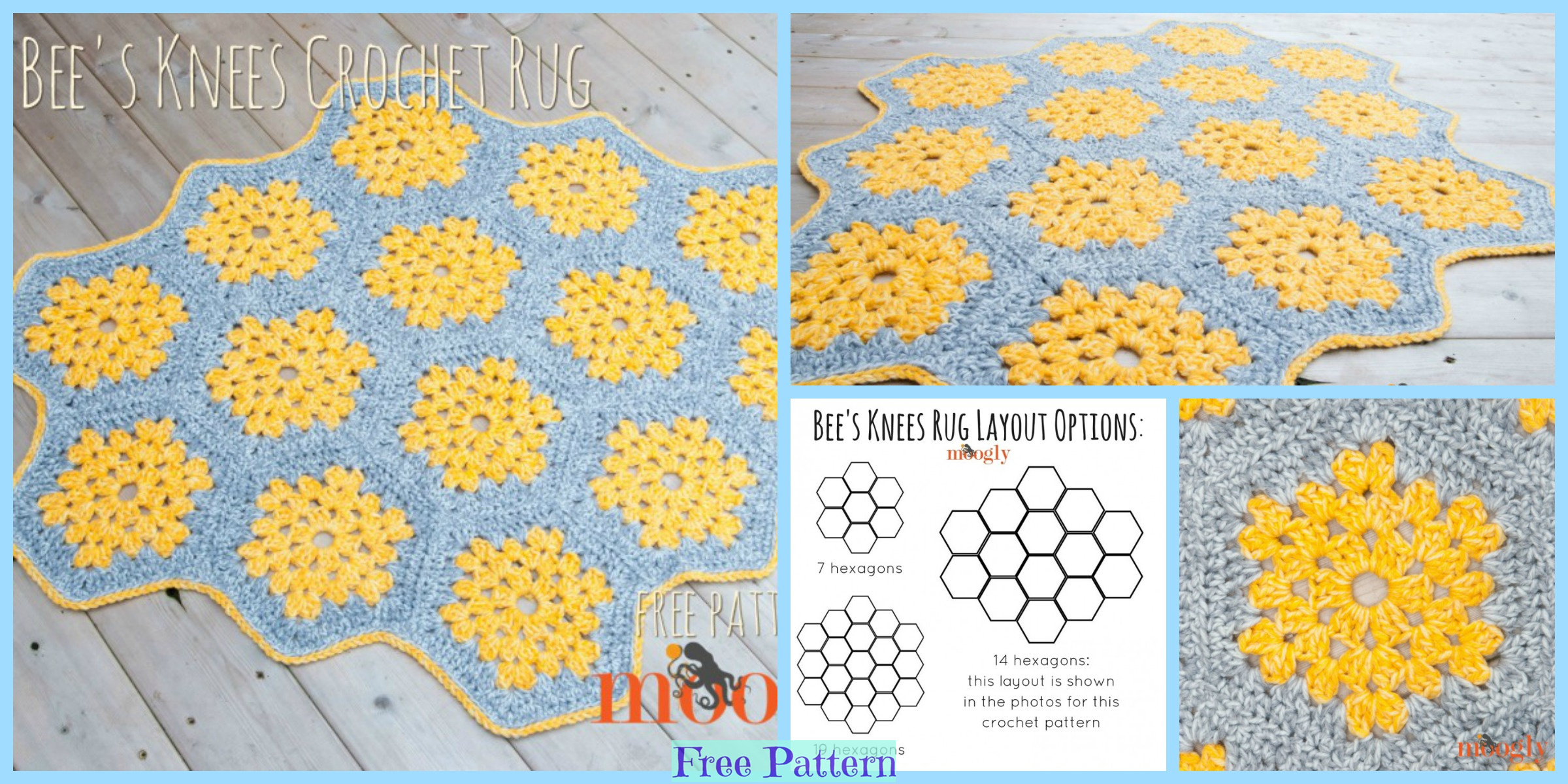 Crochet Granny Hexagon Rug – Free Pattern