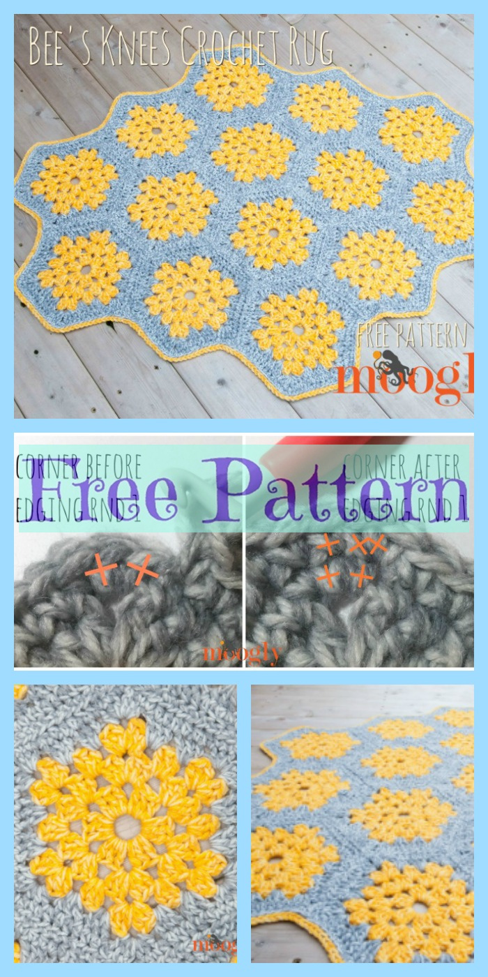 diy4ever-Crochet Granny Hexagon Rug - Free Pattern