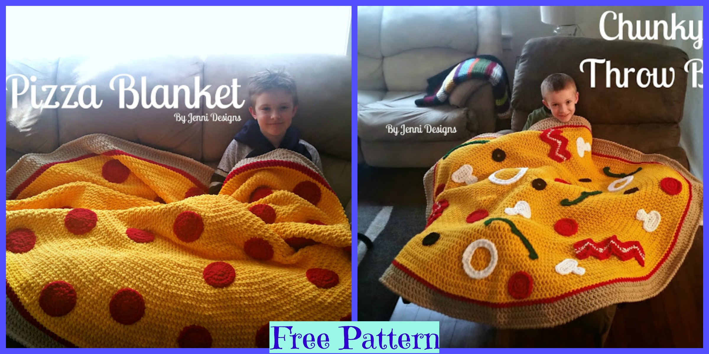 Crochet Pizza Throw Blankets – Free Patterns